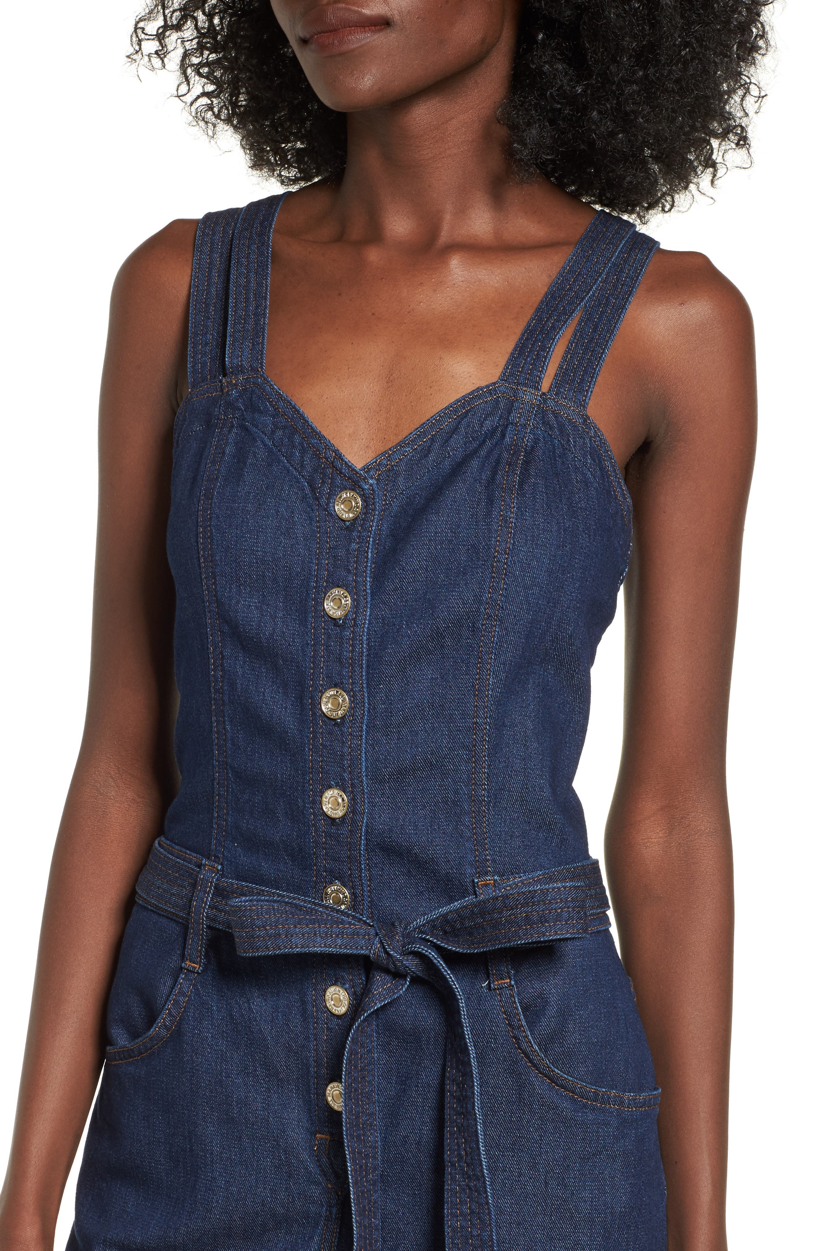 Denim Jumpsuit,                             Alternate thumbnail 4, color,                             400