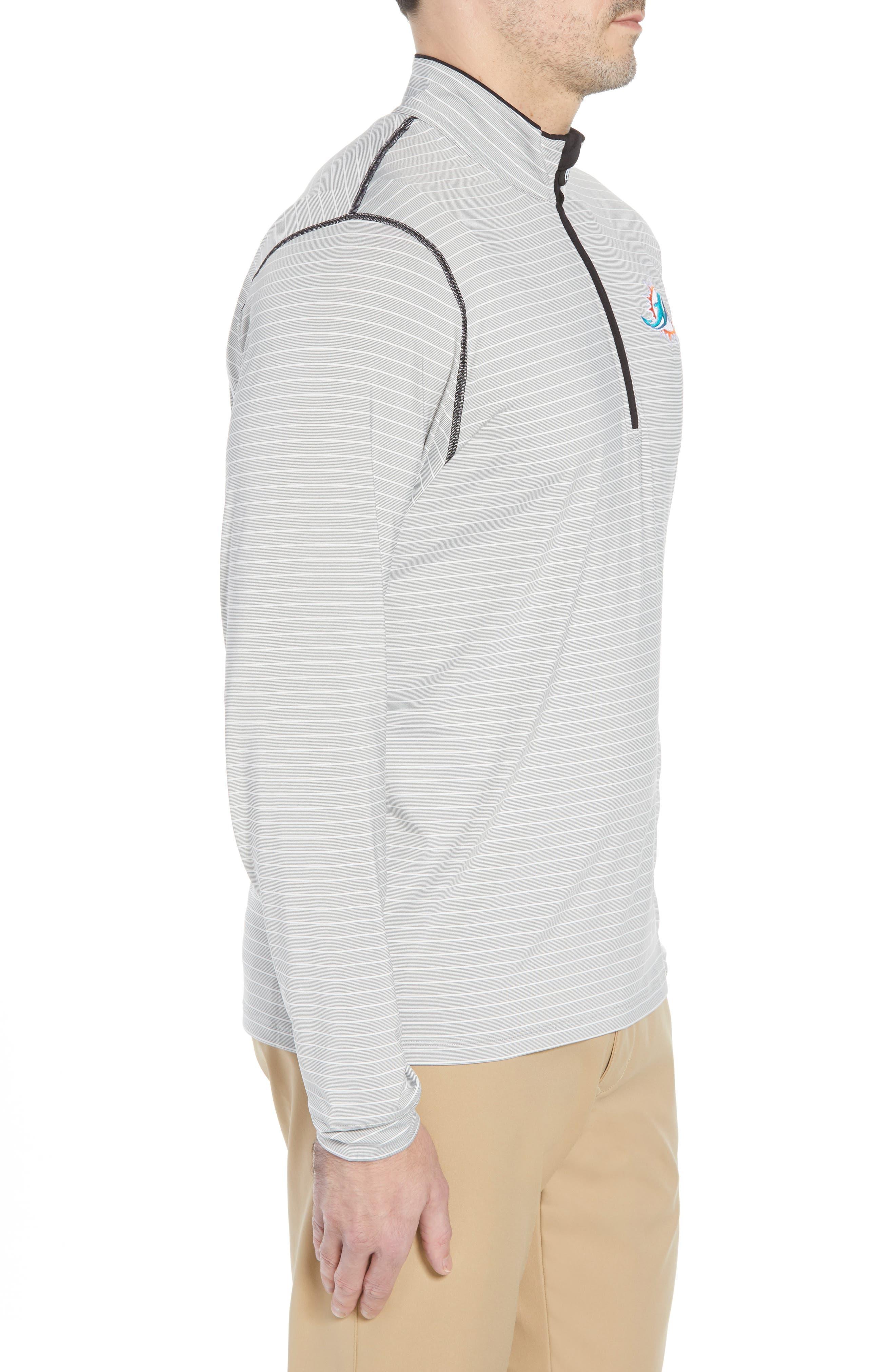 Meridian - Miami Dolphins Regular Fit Half Zip Pullover,                             Alternate thumbnail 3, color,                             BLACK