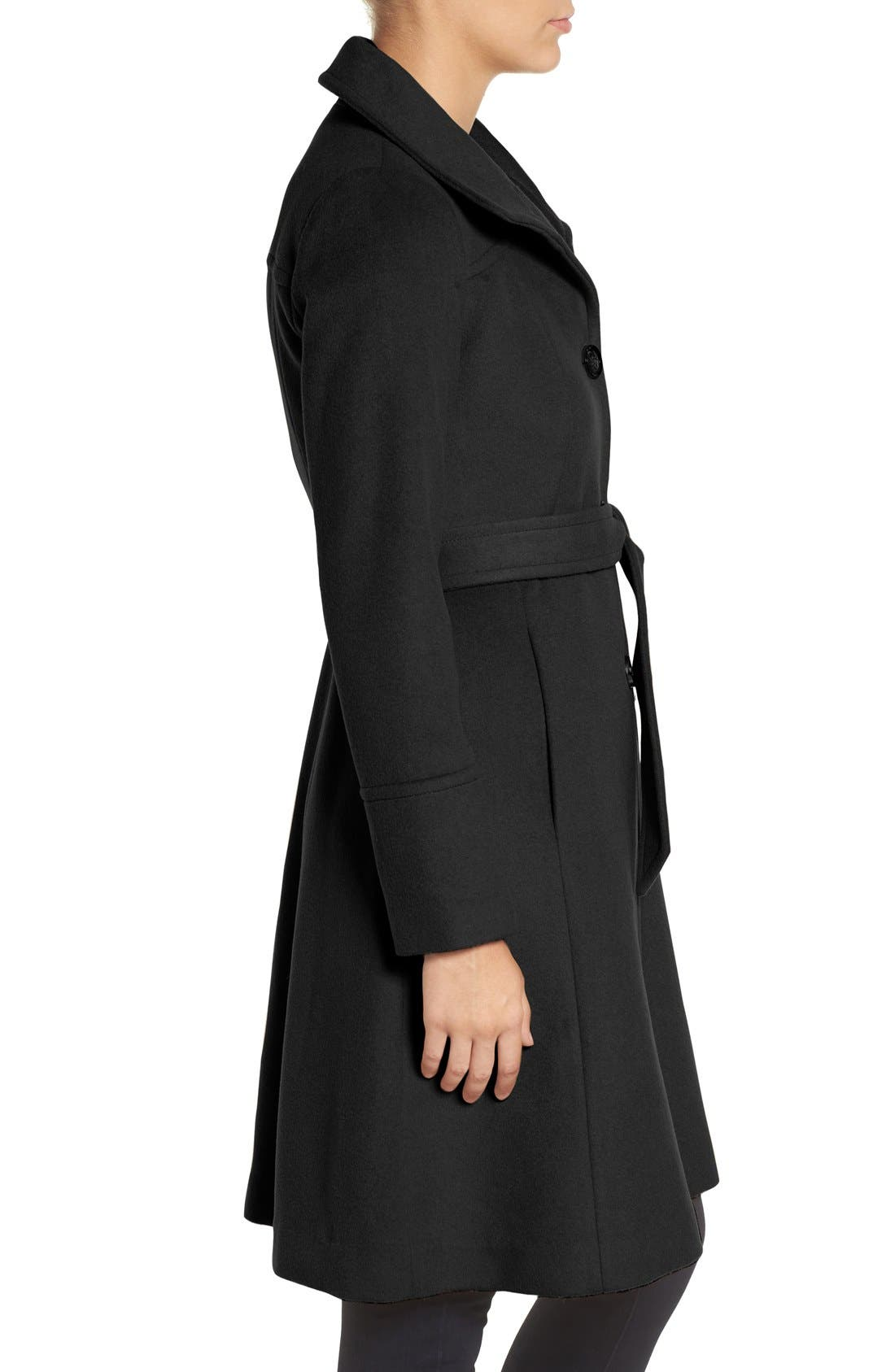 Luxe Wool Blend Belted Long A-Line Coat,                             Alternate thumbnail 9, color,