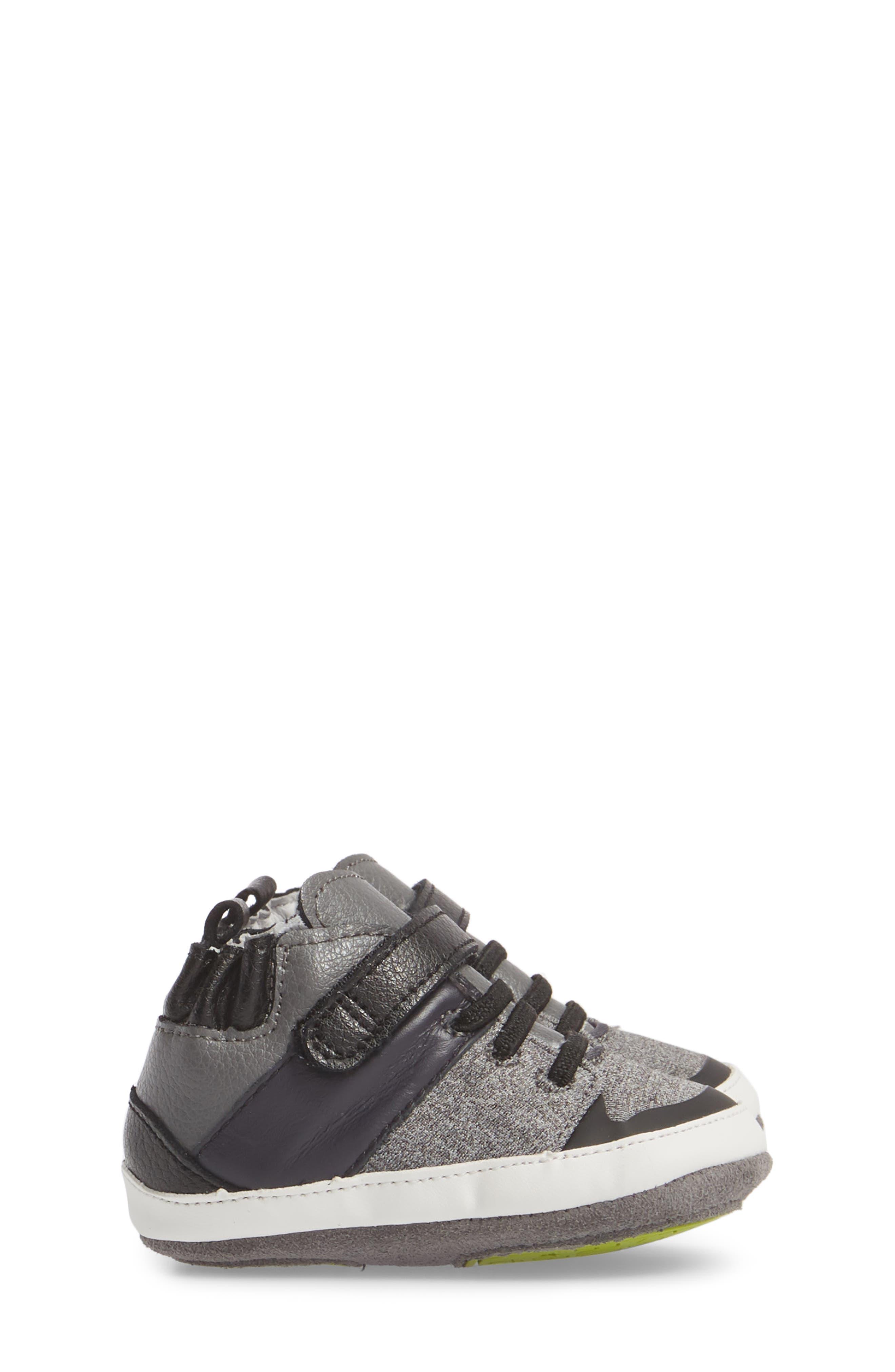 Zachary High Top Crib Sneaker,                             Alternate thumbnail 3, color,                             BLACK