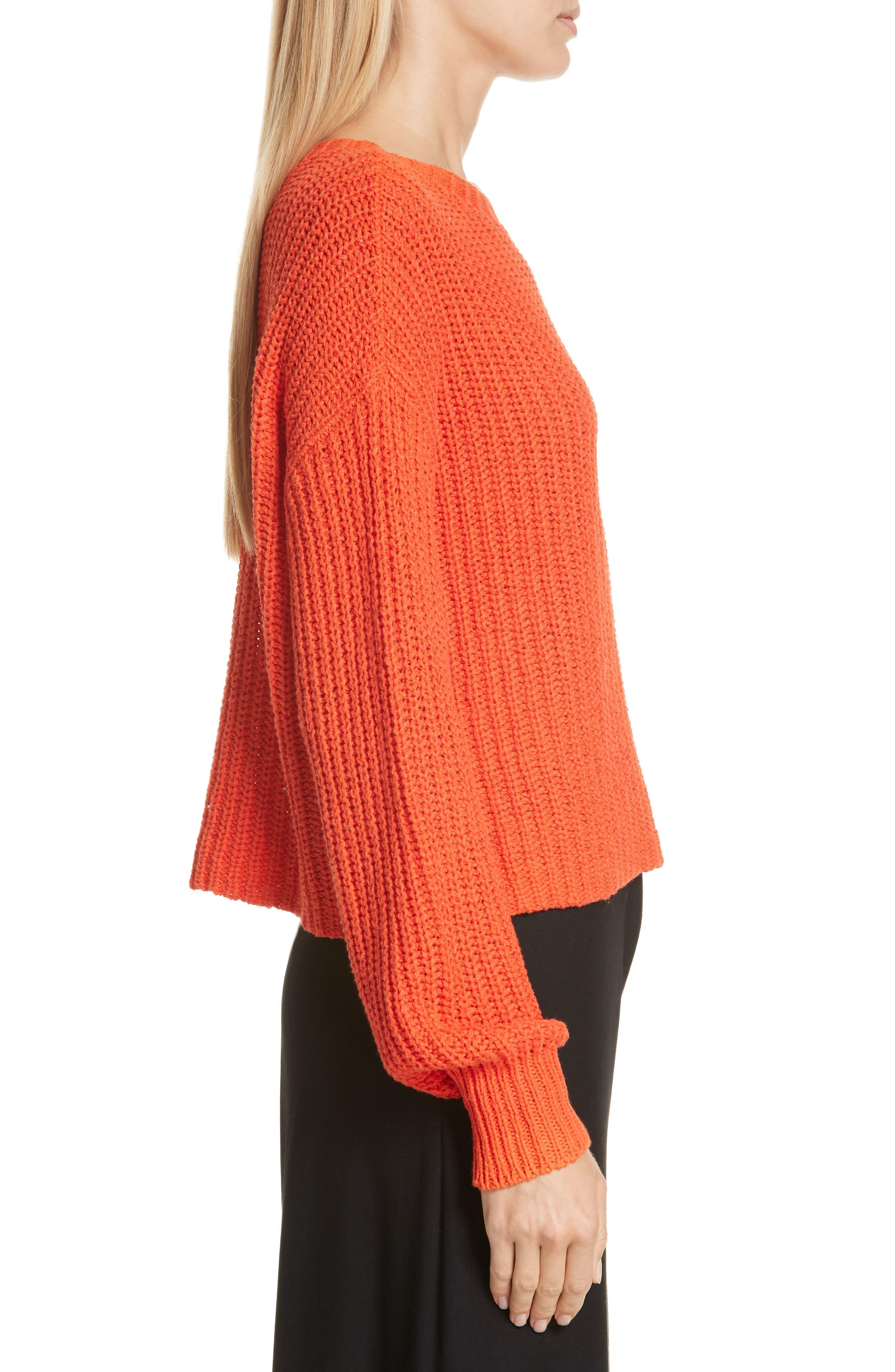 Crewneck Crop Shaker Sweater,                             Alternate thumbnail 3, color,                             HOT RED