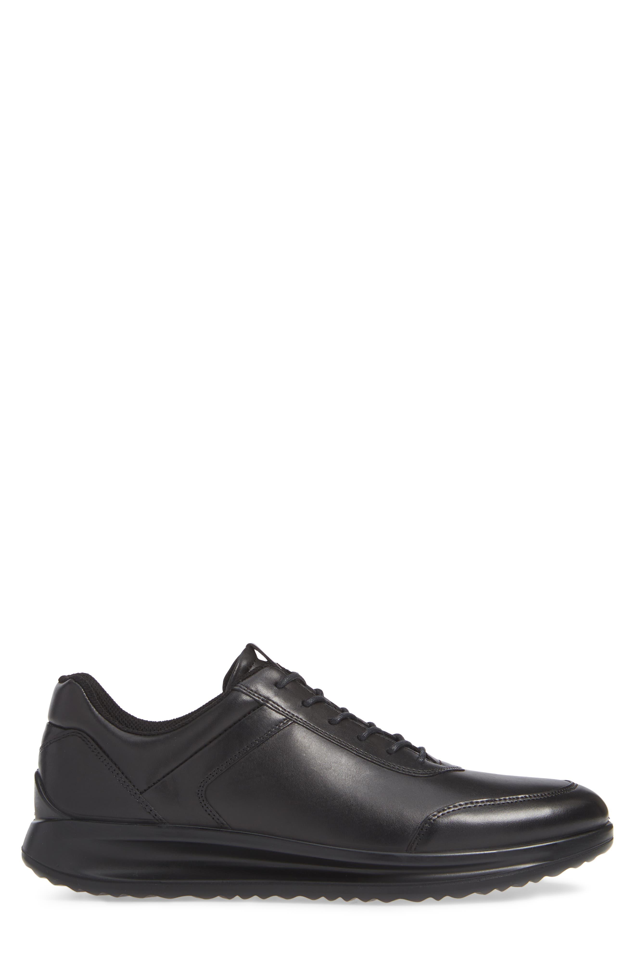 Aquet Low Top Sneaker,                             Alternate thumbnail 3, color,                             BLACK LEATHER