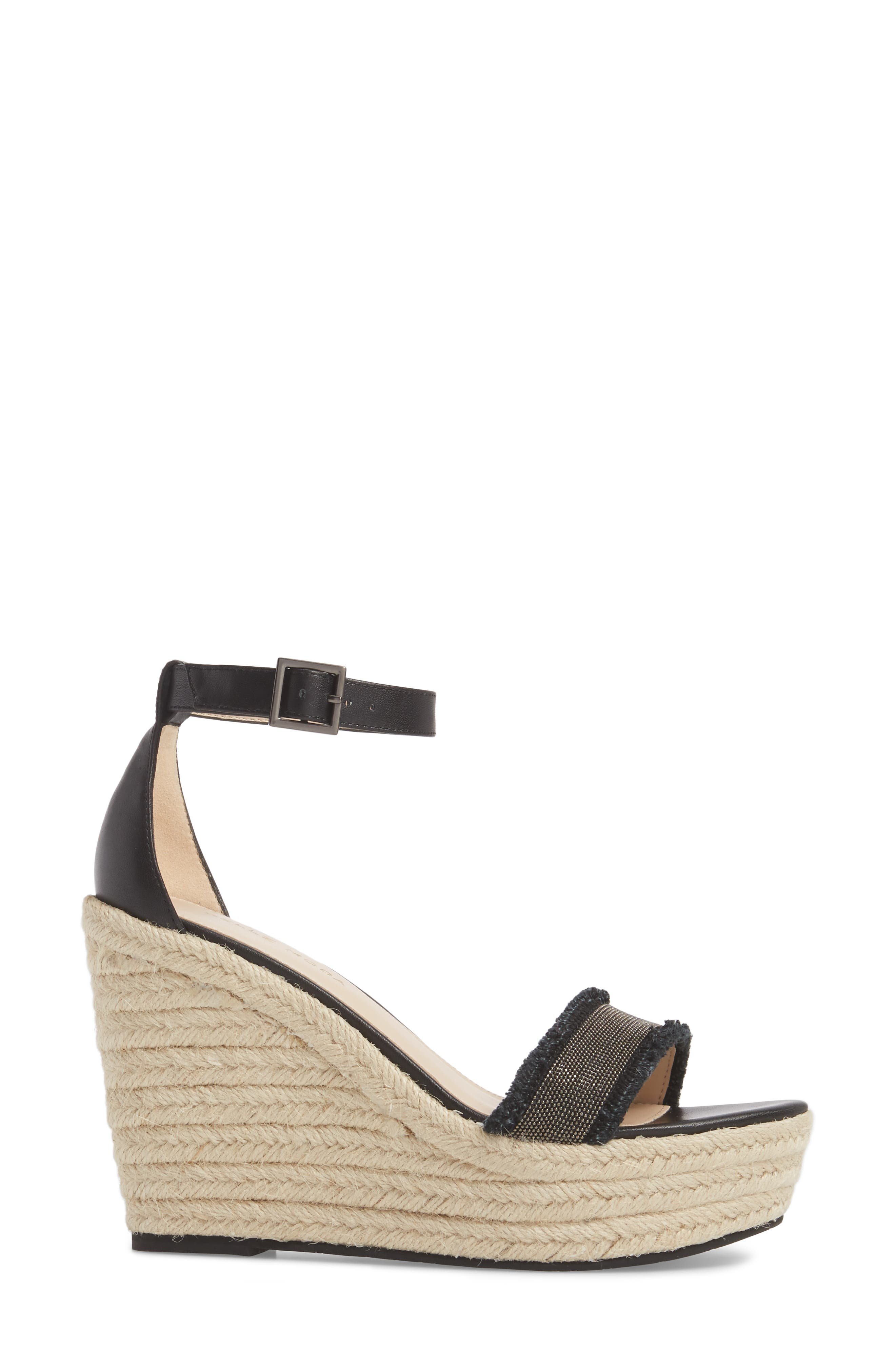 Radley Espadrille Wedge Sandal,                             Alternate thumbnail 3, color,                             BLACK LEATHER