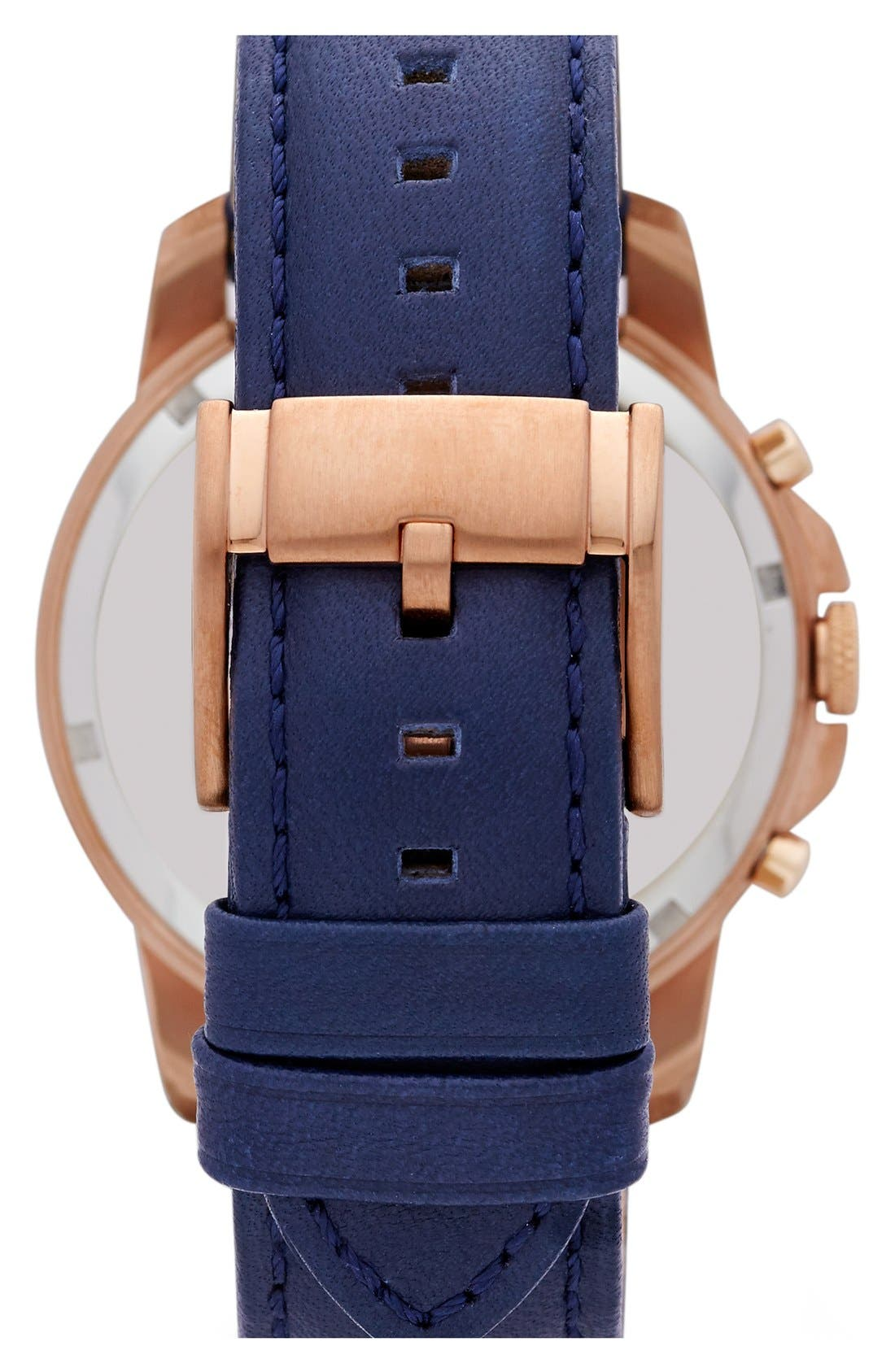 'Grant' Round Chronograph Leather Strap Watch, 44mm,                             Alternate thumbnail 4, color,                             NAVY/ ROSE GOLD