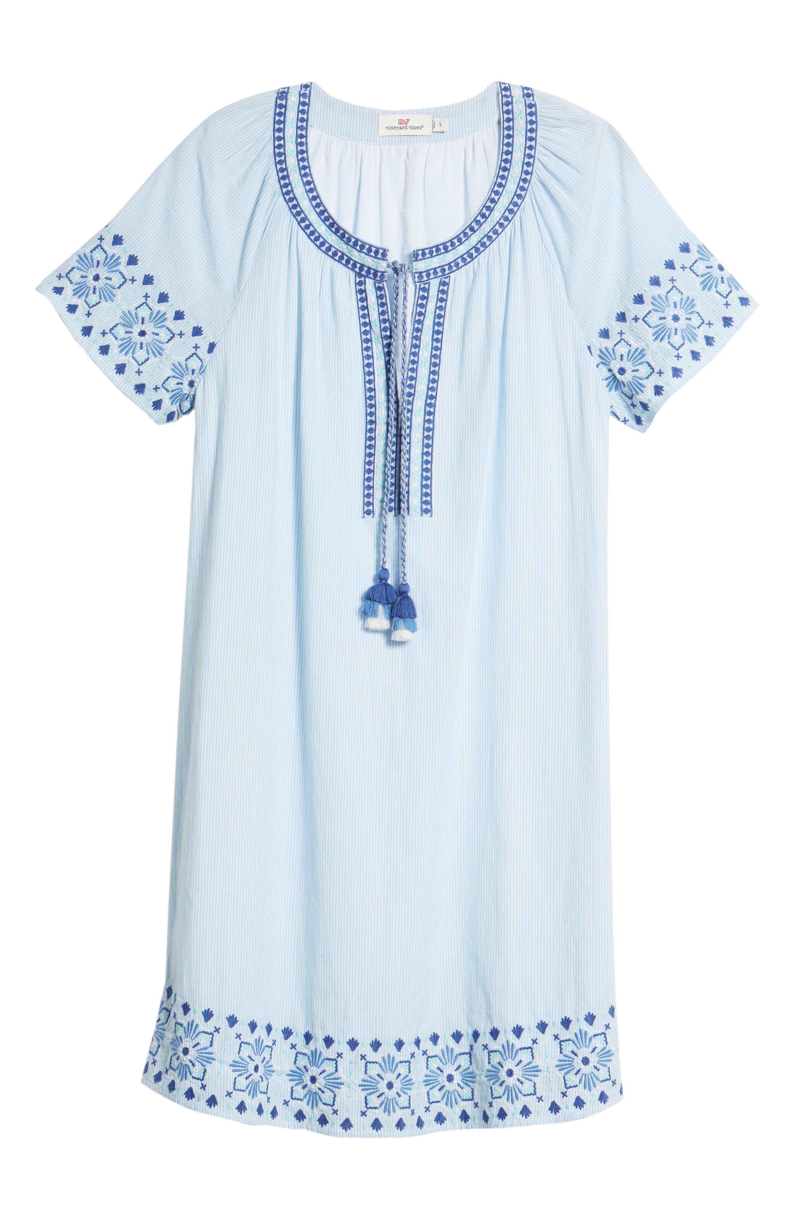 Sea Spray Striped Dress,                             Alternate thumbnail 7, color,                             458