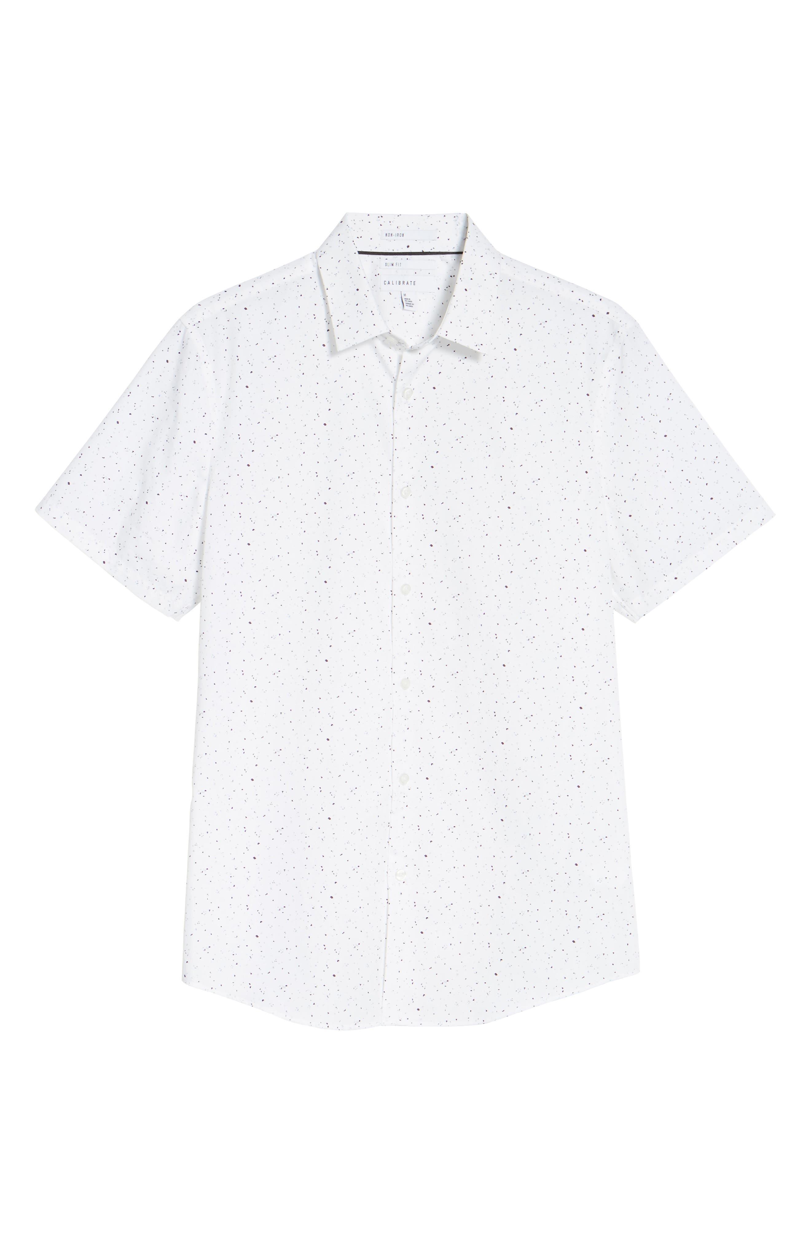 Speckle Print Sport Shirt,                             Alternate thumbnail 6, color,                             100