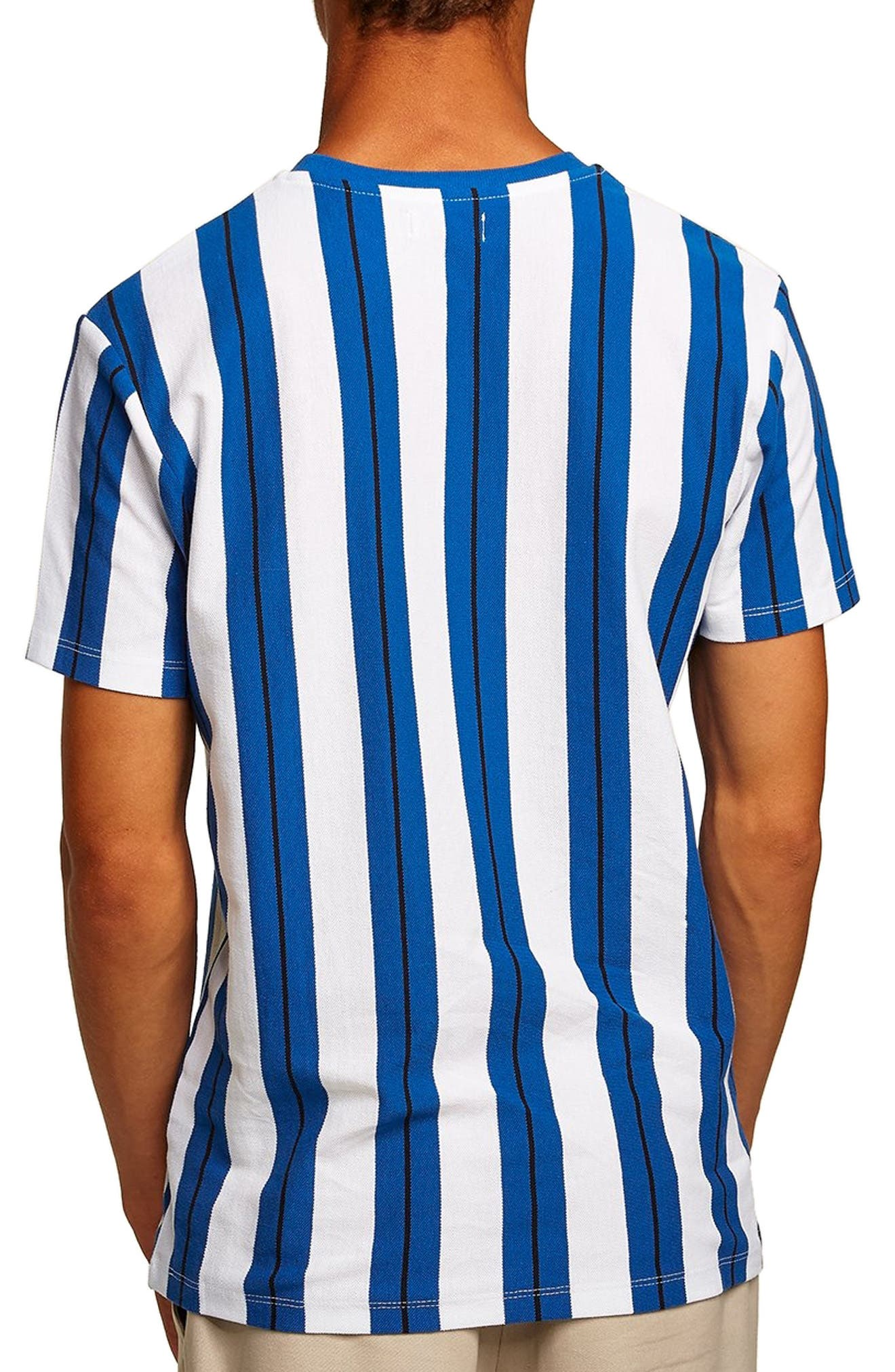 Stripe Piqué T-Shirt,                             Alternate thumbnail 2, color,                             BLUE