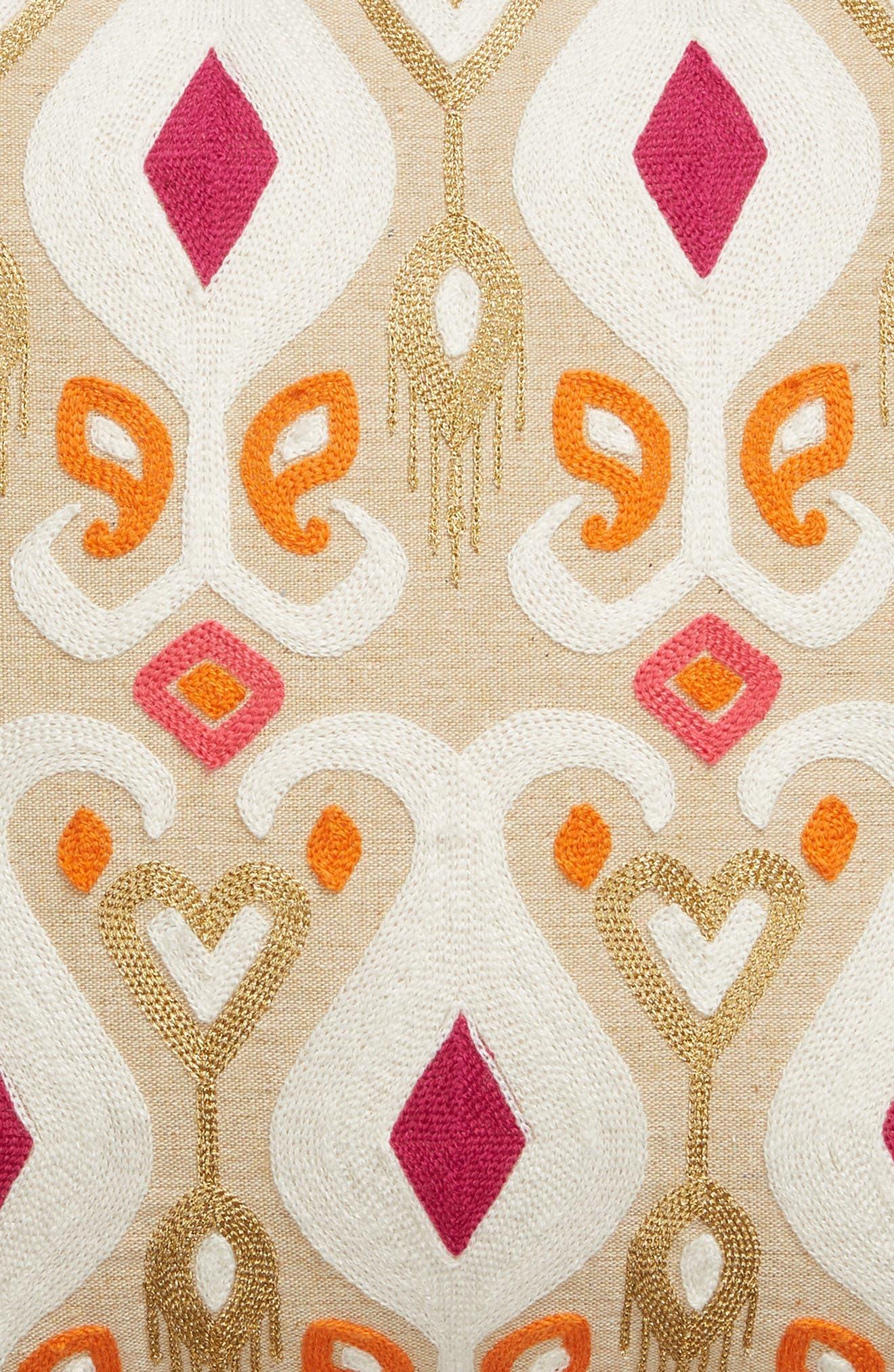 Saffron Crewel Stitch Accent Pillow,                             Alternate thumbnail 3, color,                             251