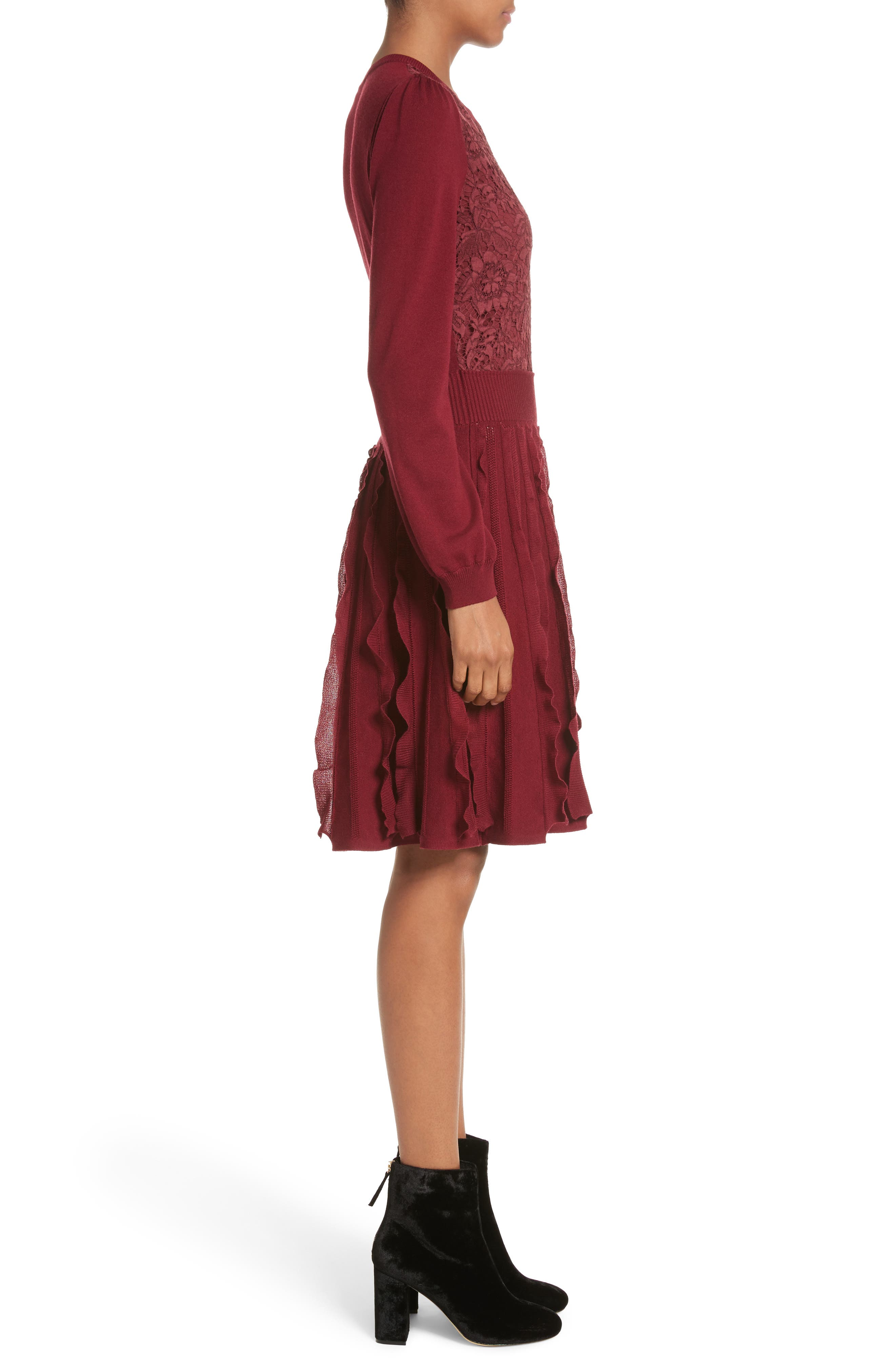 Guipure Lace & Wool Knit Dress,                             Alternate thumbnail 3, color,                             930