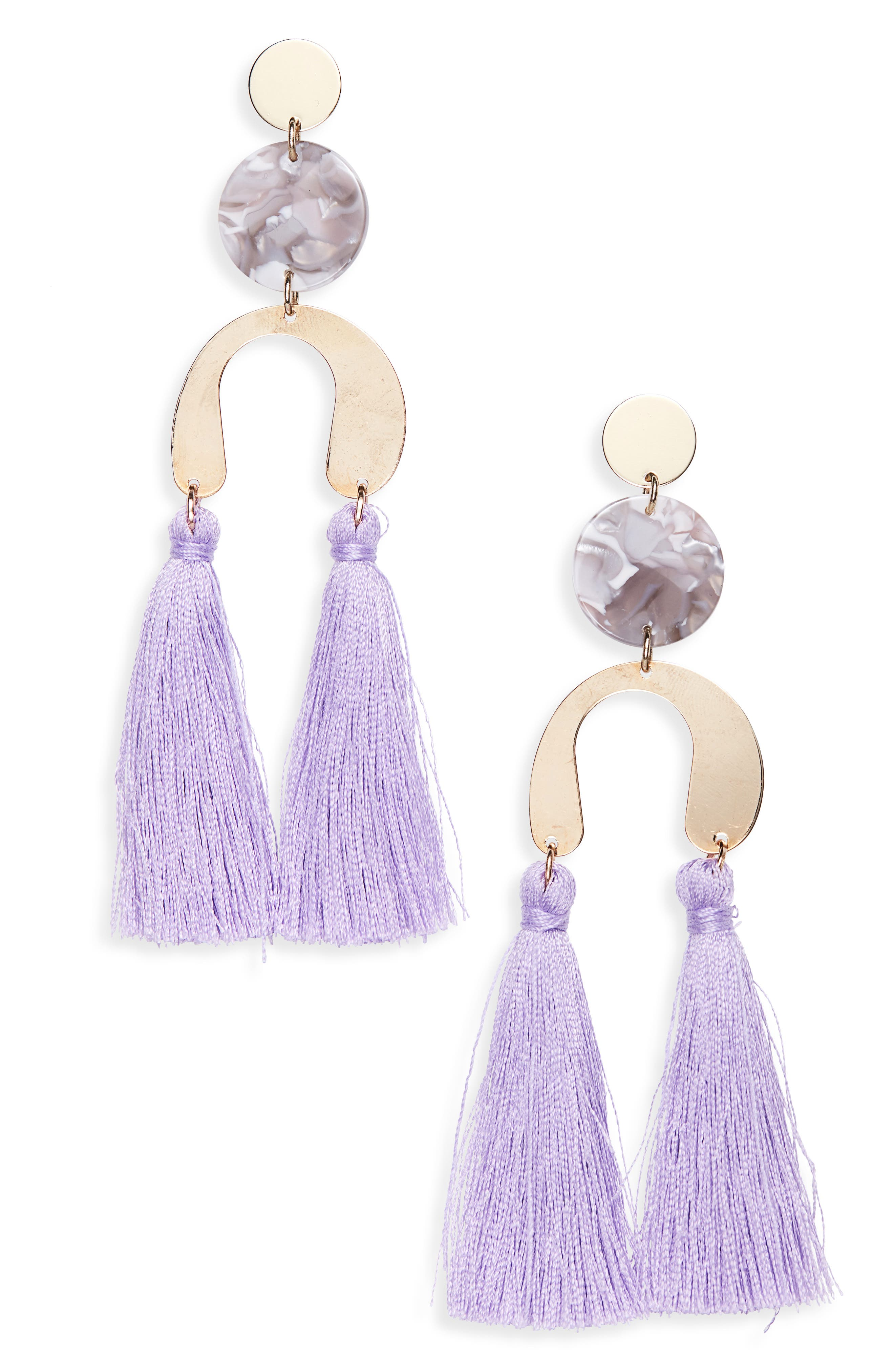 NEW FRIENDS COLONY Stella Fringe Earrings in Gold/ Lilac