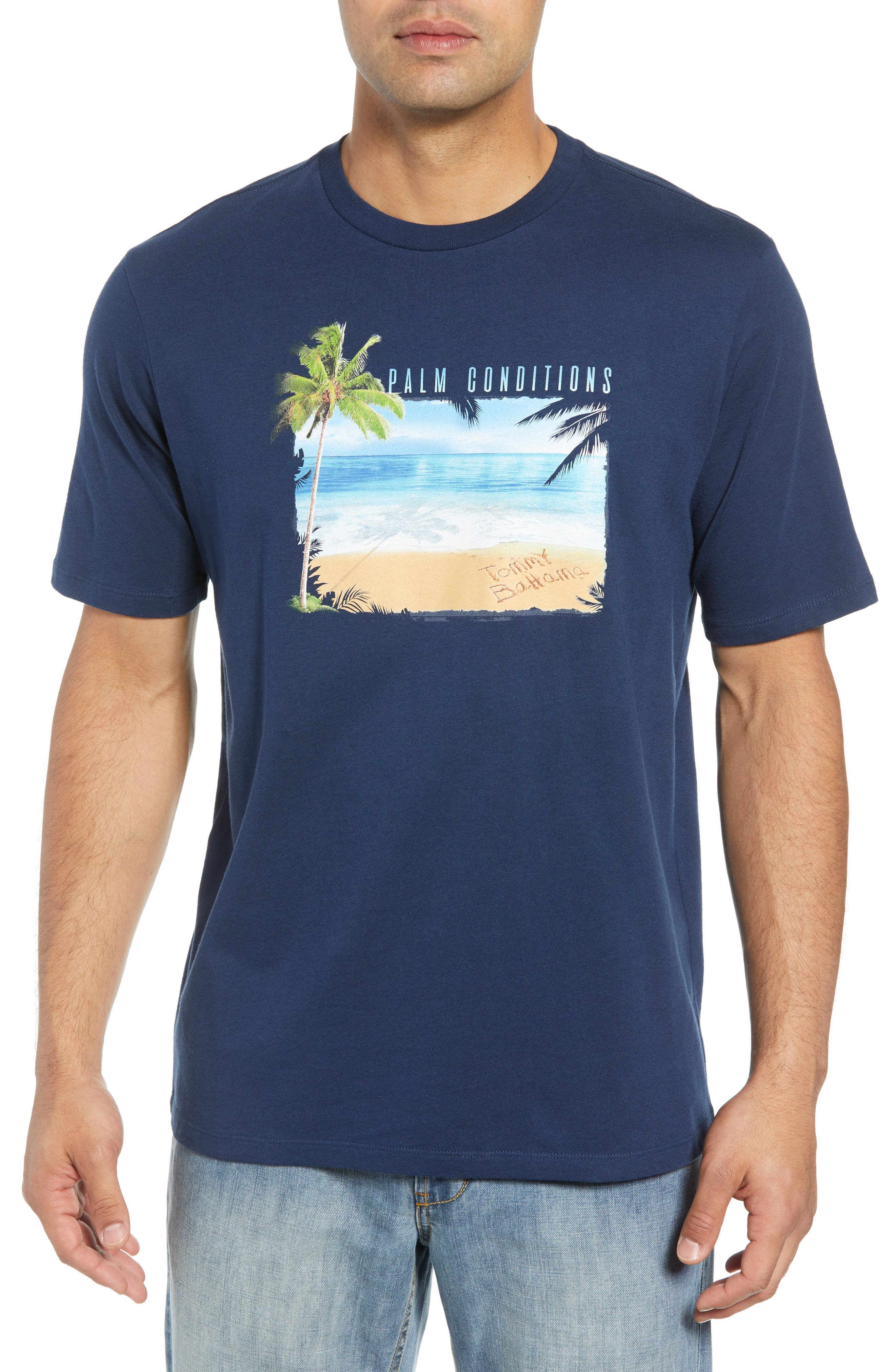 Palm Conditions T-Shirt,                             Main thumbnail 1, color,                             NAVY