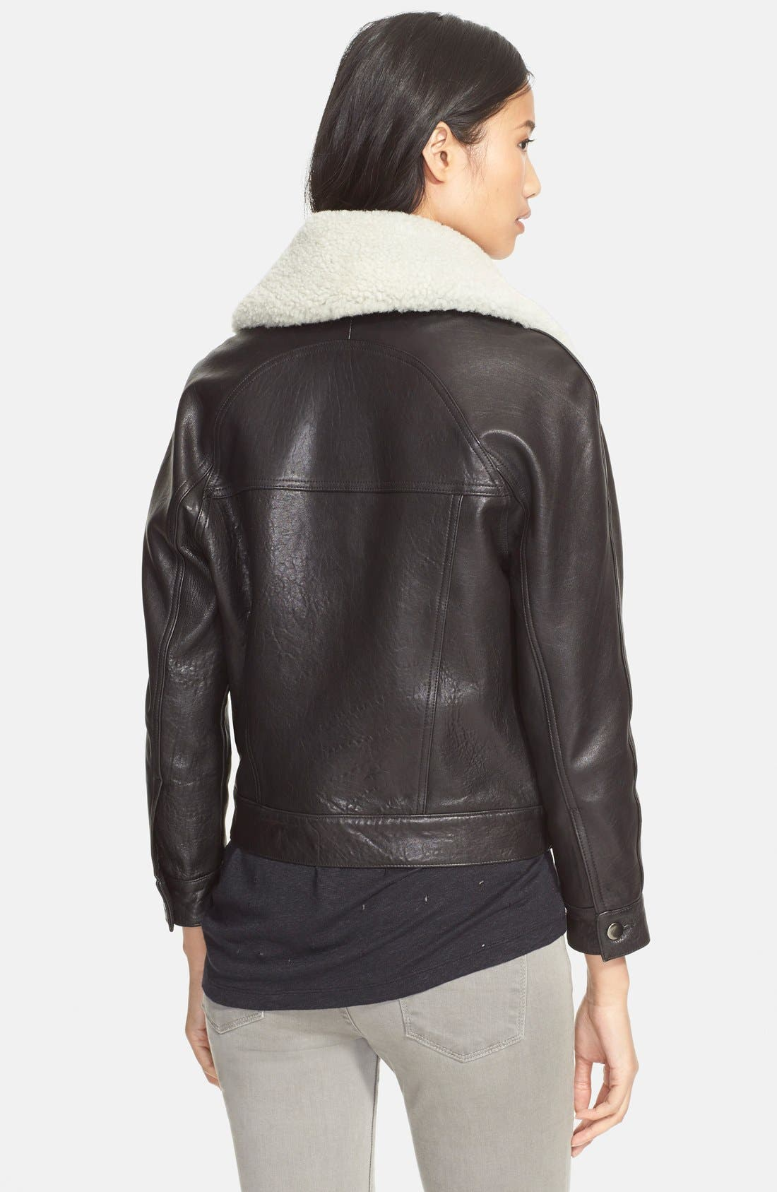 'Padre' Lambskin Leather Jacketwith Genuine ShearlingCollar,                             Alternate thumbnail 2, color,                             001