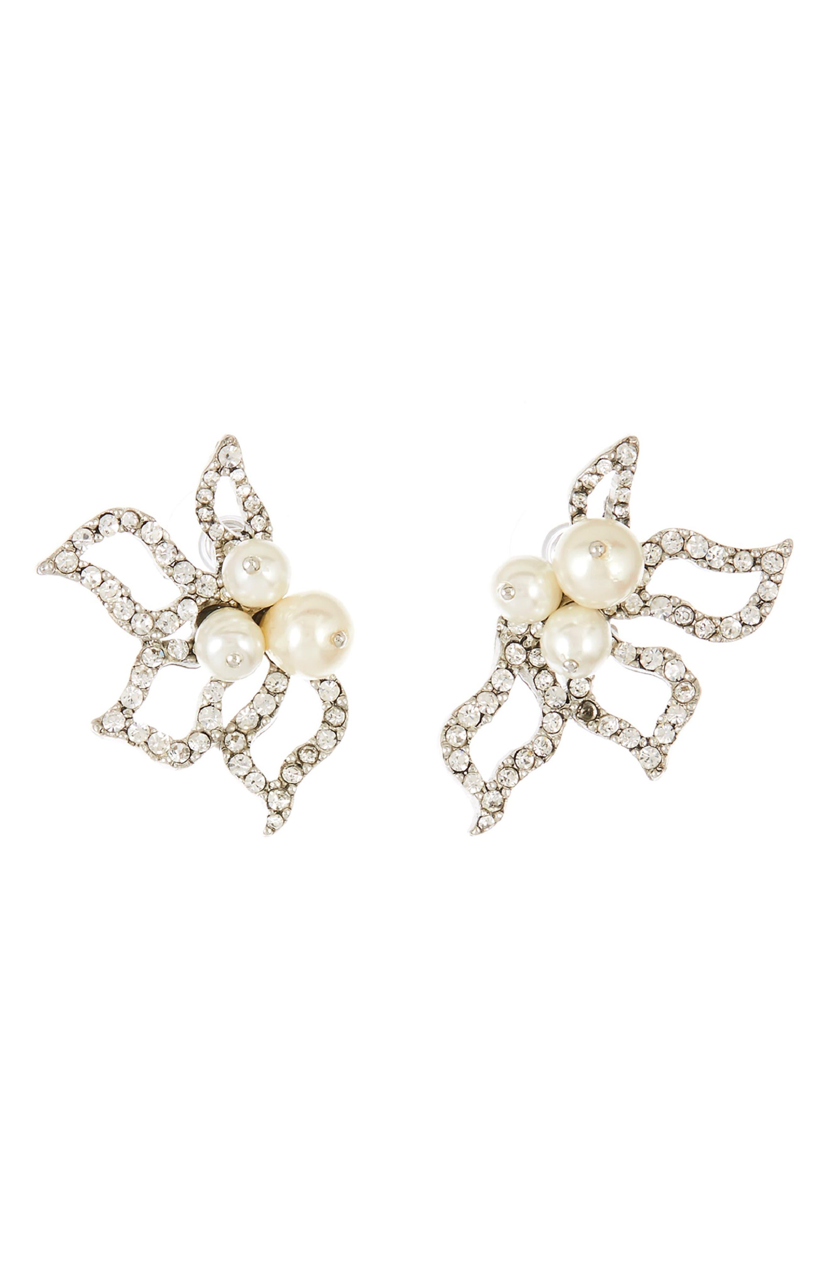 Imitation Pearl Pavé Earrings,                             Main thumbnail 1, color,                             SILVER