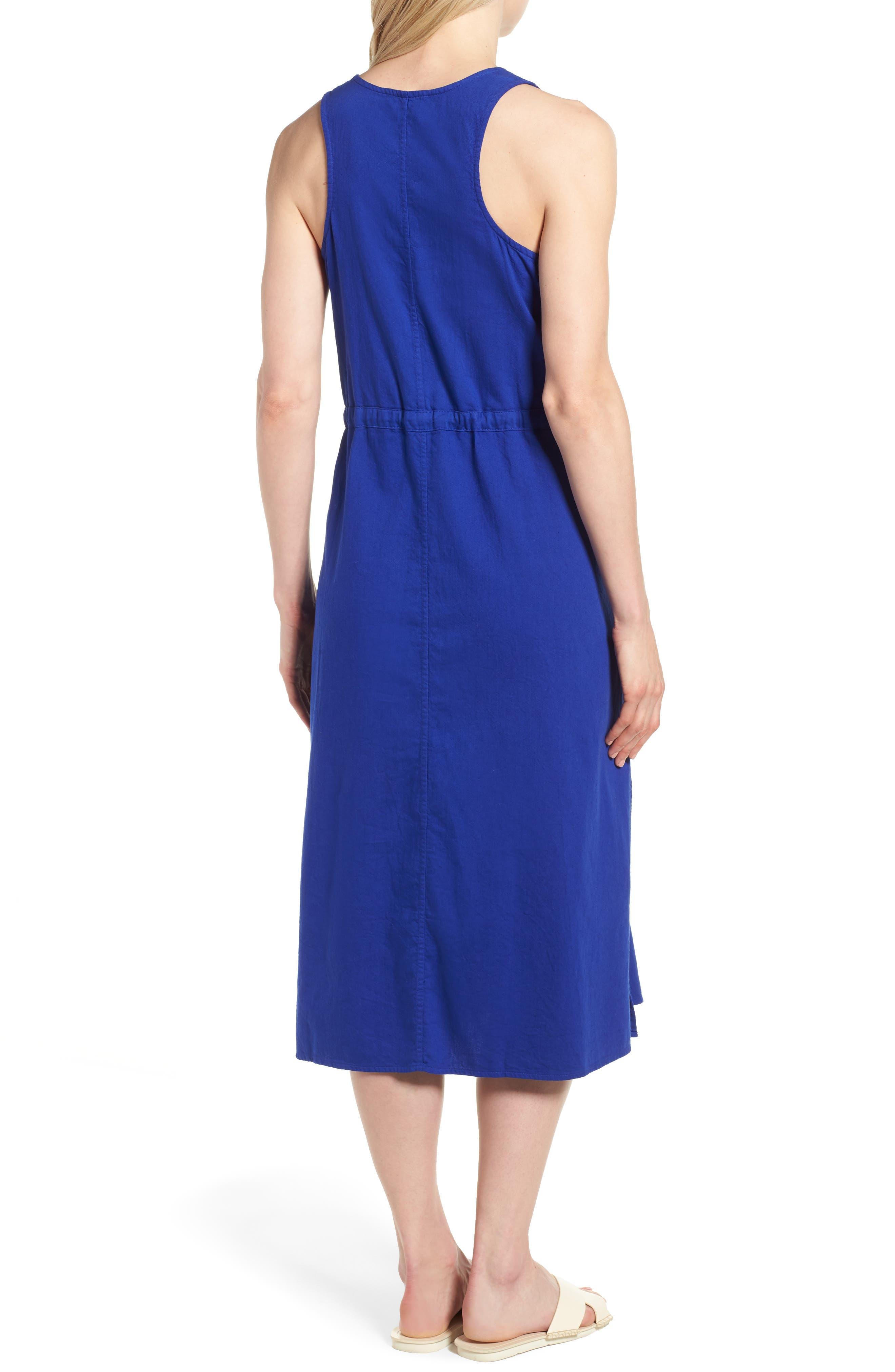 Drawstring Organic Cotton Midi Dress,                             Alternate thumbnail 9, color,