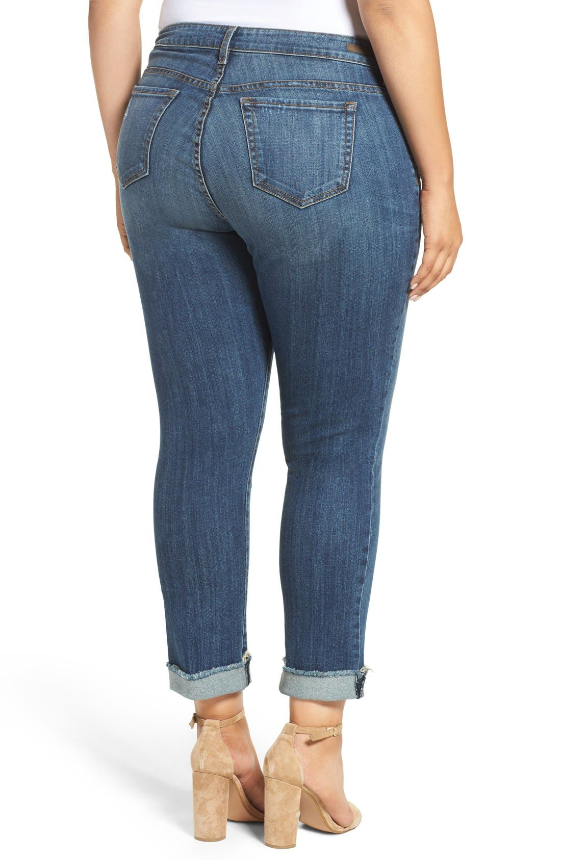 Stretch Roll Cuff Ankle Jeans,                             Alternate thumbnail 6, color,