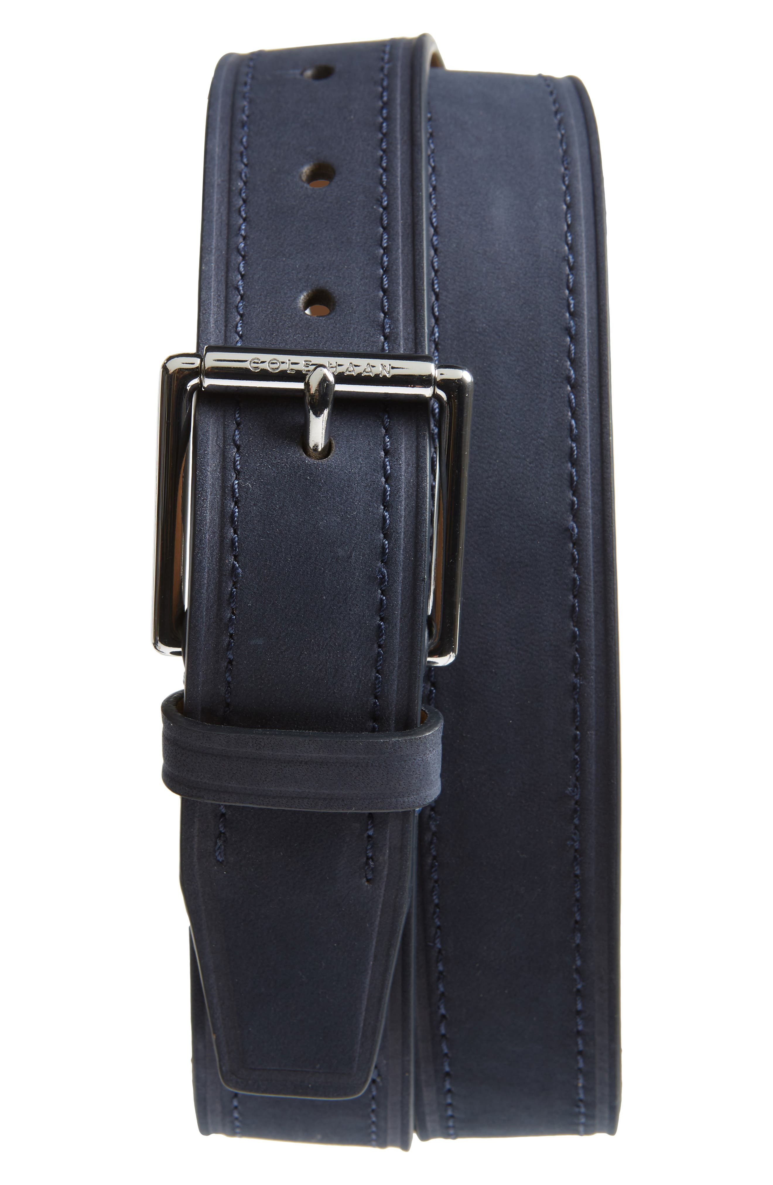 Cut Edge Leather Belt,                             Main thumbnail 1, color,                             NAVY