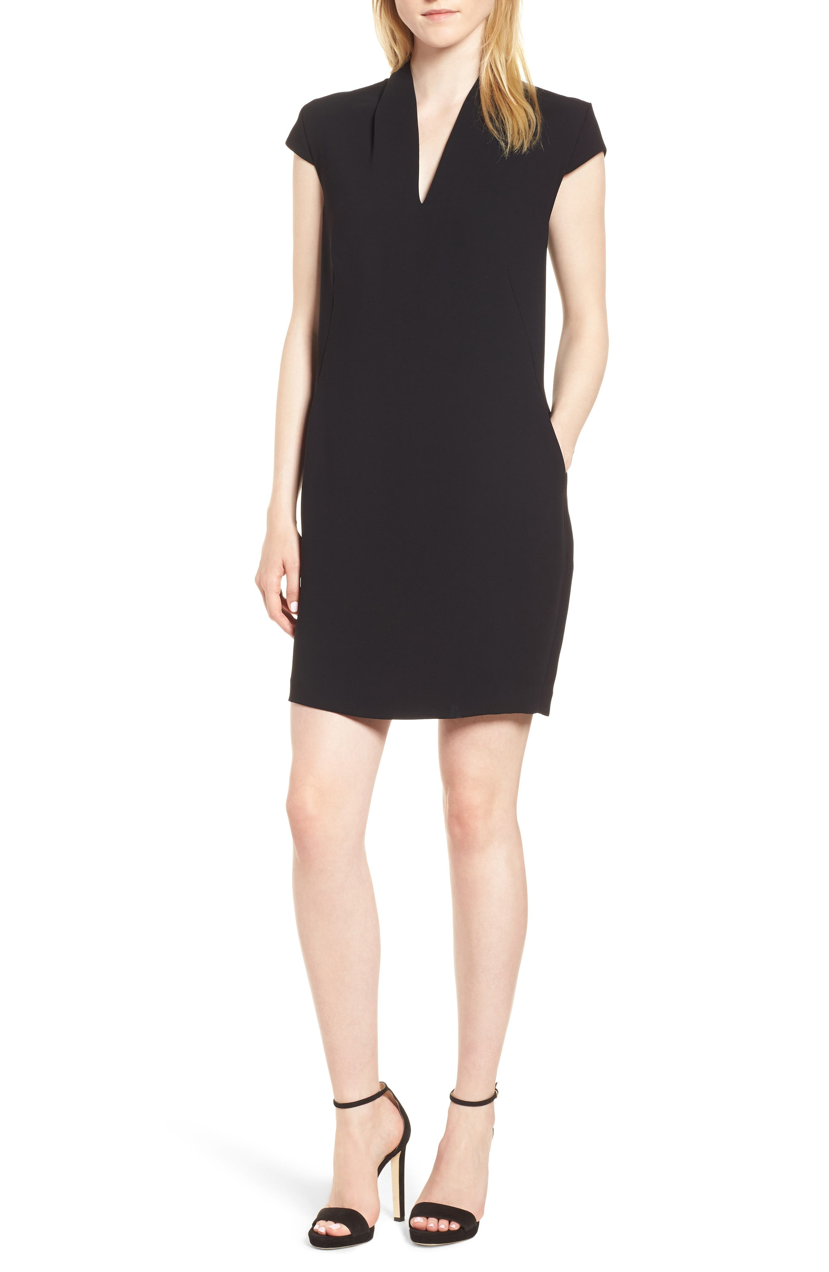 Paige V-Neck Crepe Shift Dress,                         Main,                         color, 001