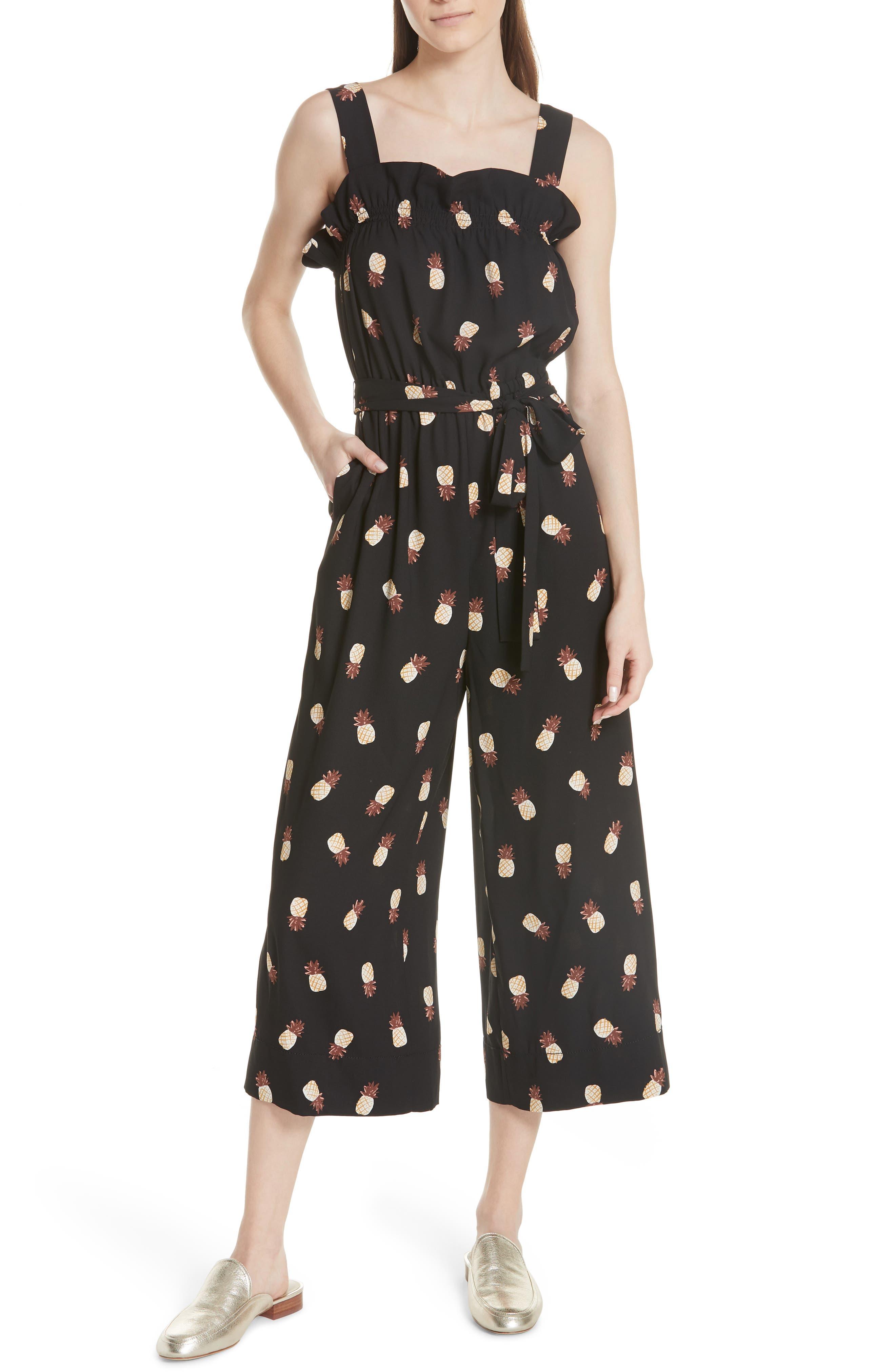 KATE SPADE NEW YORK,                             pineapple wide leg crop jumpsuit,                             Main thumbnail 1, color,                             001