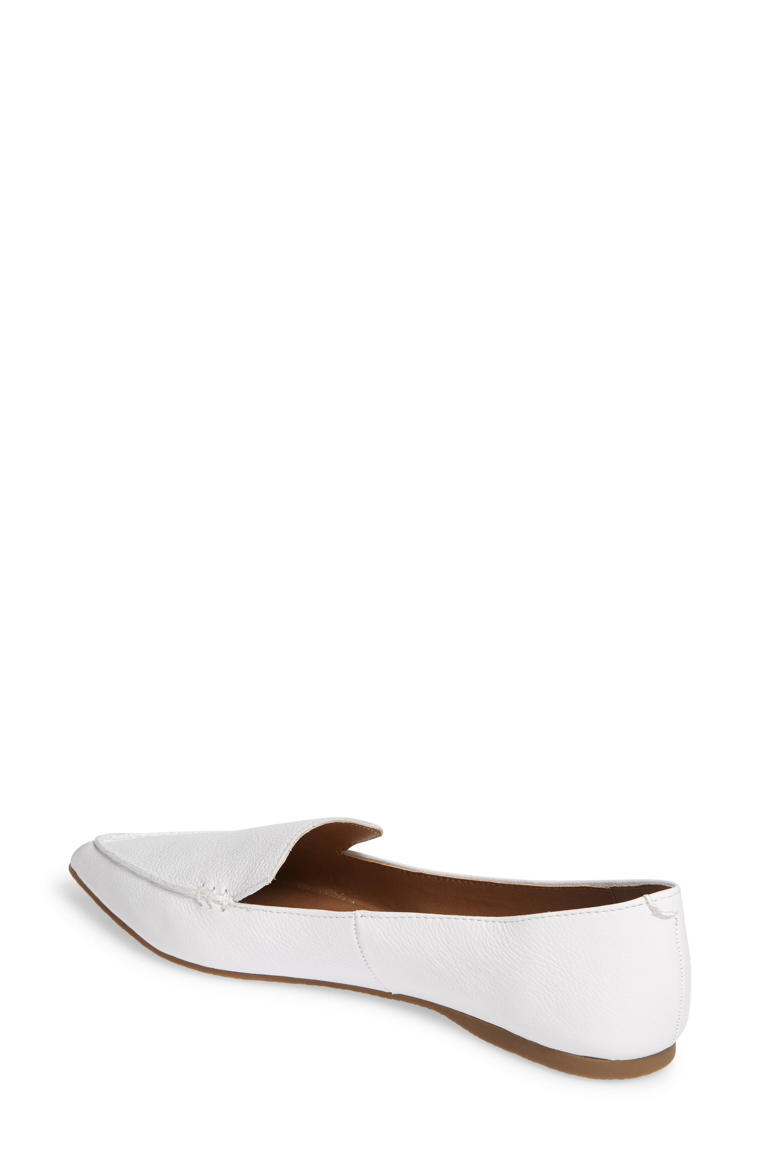 STEVE MADDEN,                             Feather Loafer Flat,                             Alternate thumbnail 2, color,                             WHITE LEATHER