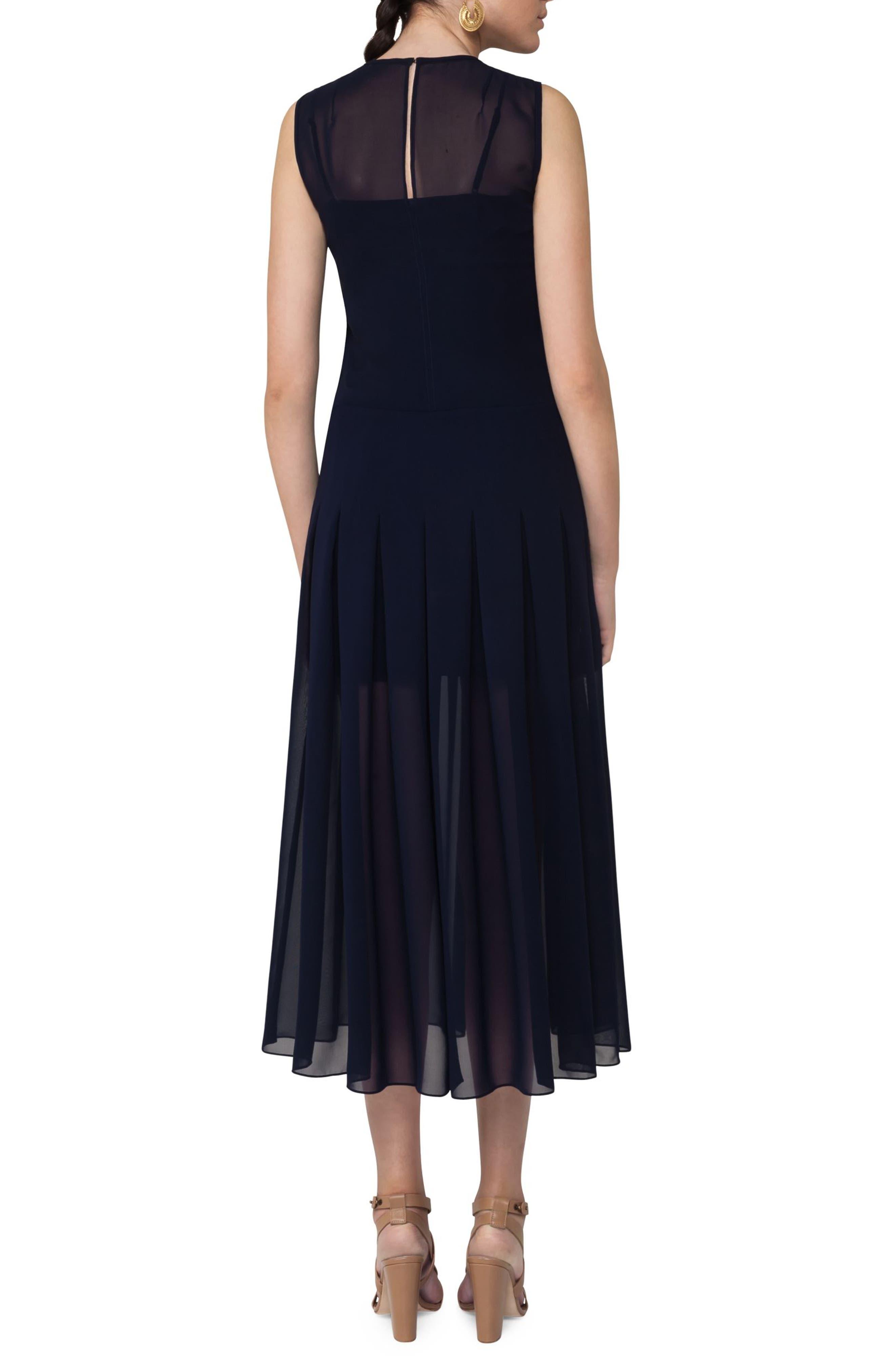 Sheer Pleat Midi Dress,                             Alternate thumbnail 2, color,