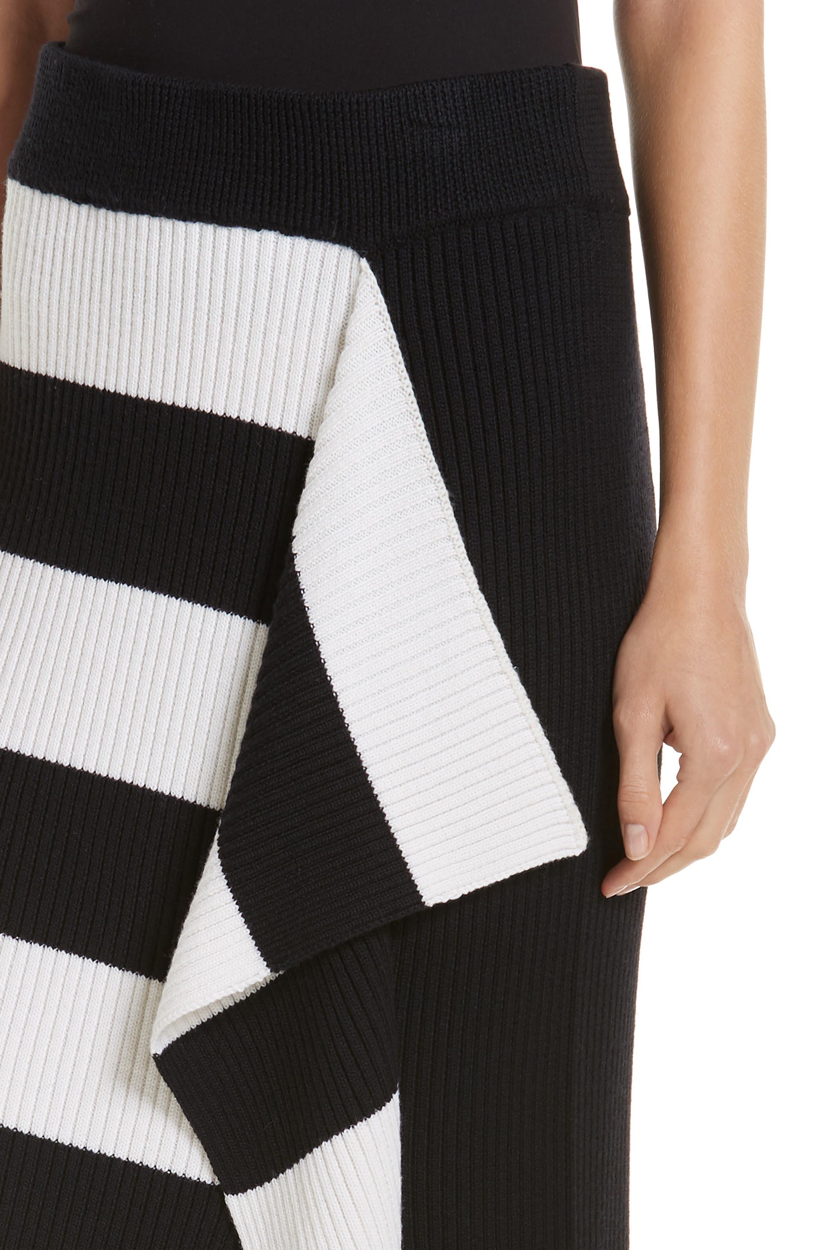 Origami Flap Stripe Midi Skirt,                             Alternate thumbnail 4, color,                             BLACK/ WHITE MULTI