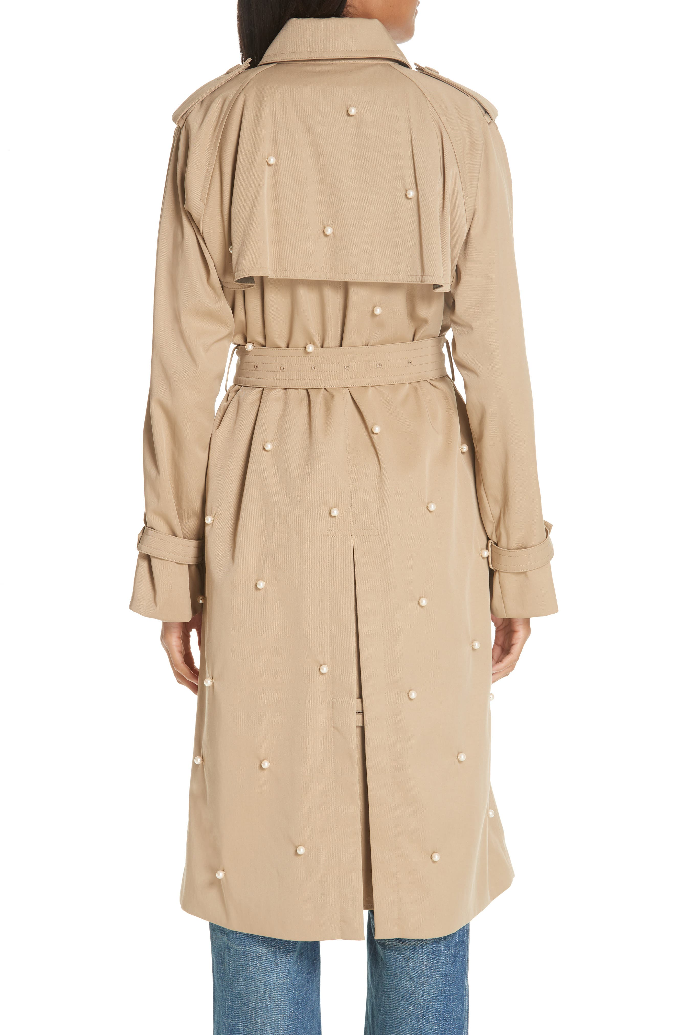Imitation Pearl Embellished Trench Coat,                             Alternate thumbnail 2, color,                             BEIGE BEIG
