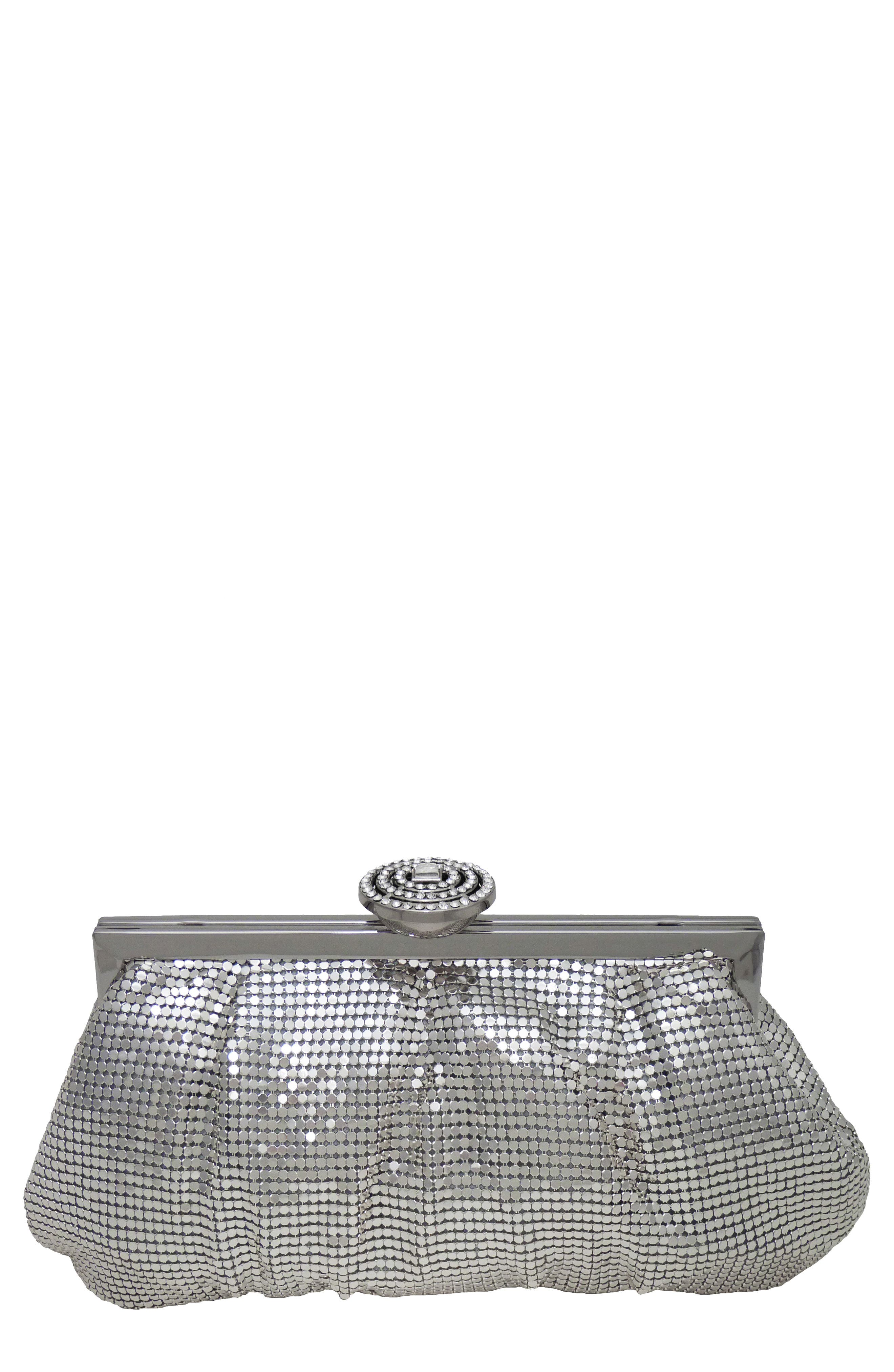 Marilyn Frame Clutch,                             Main thumbnail 1, color,                             PEWTER