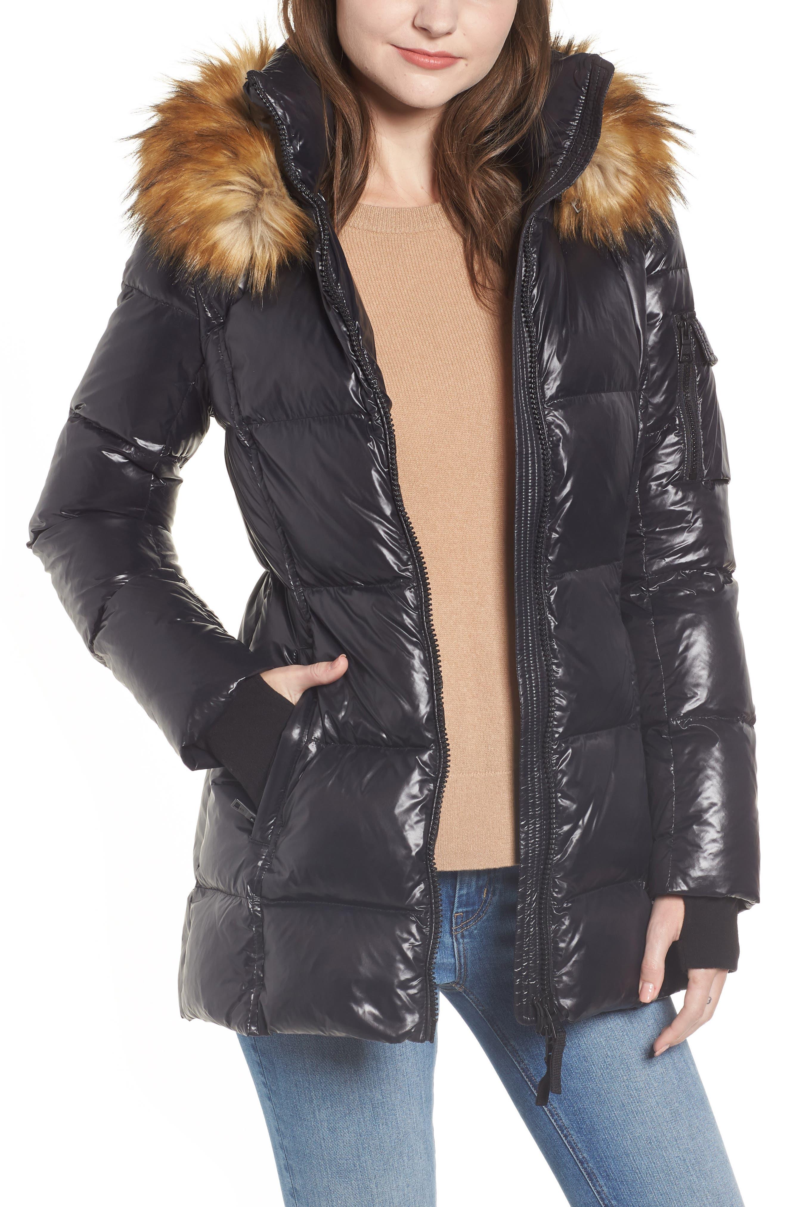 S13 Gramercy Faux Fur Trim Down Puffer Jacket