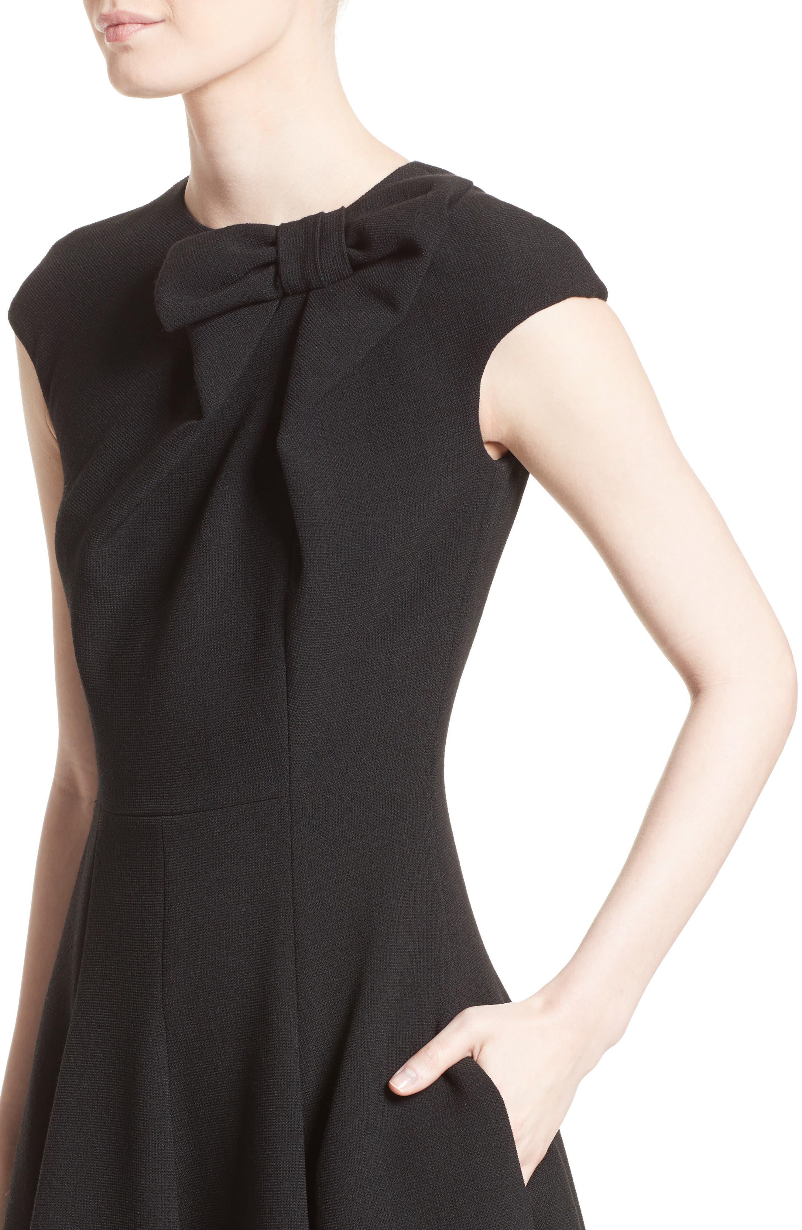 Bow Detail Fit & Flare Dress,                             Alternate thumbnail 4, color,                             001