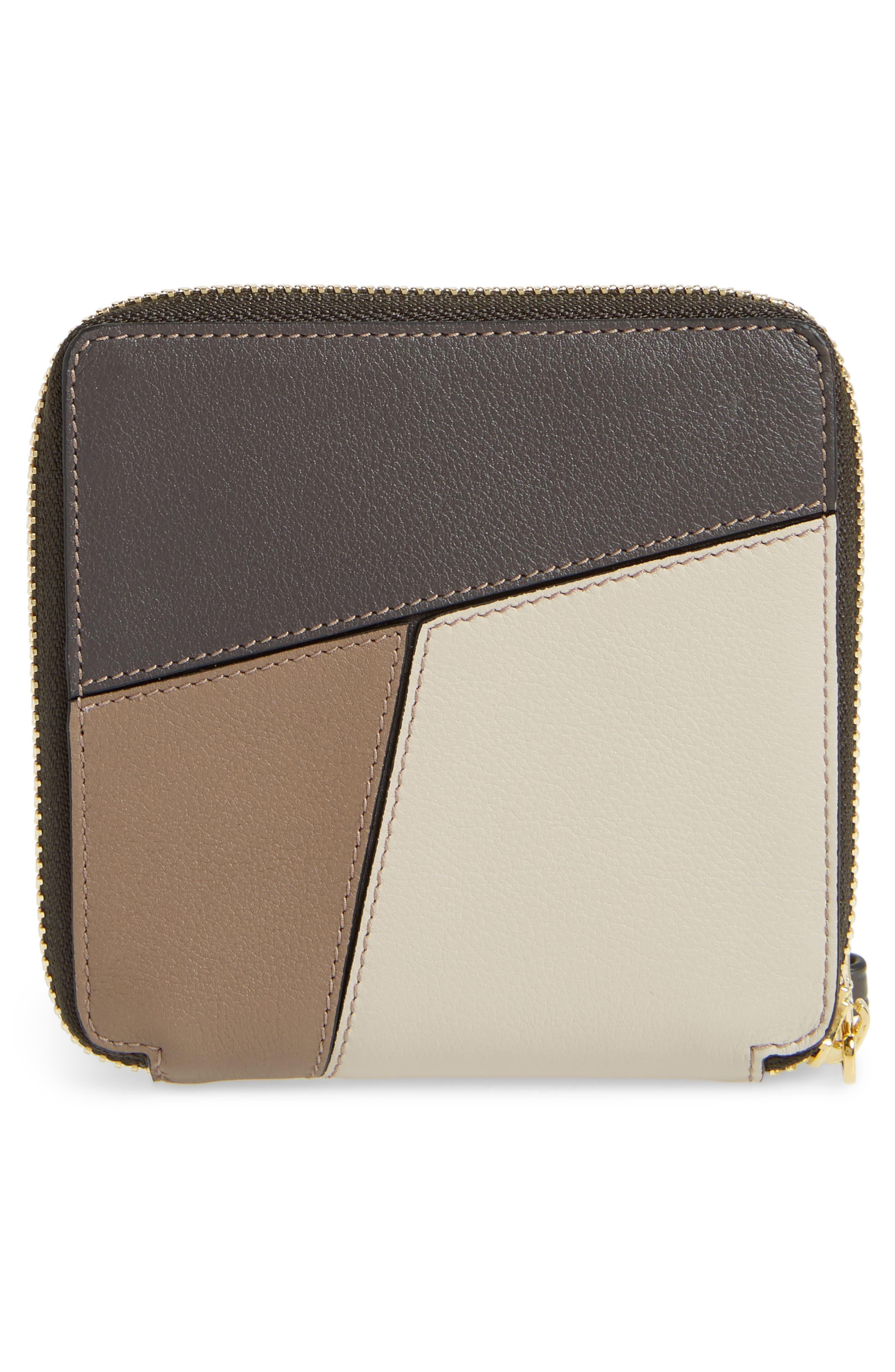 Denim Puzzle Colorblock Leather French Wallet,                             Alternate thumbnail 4, color,                             200