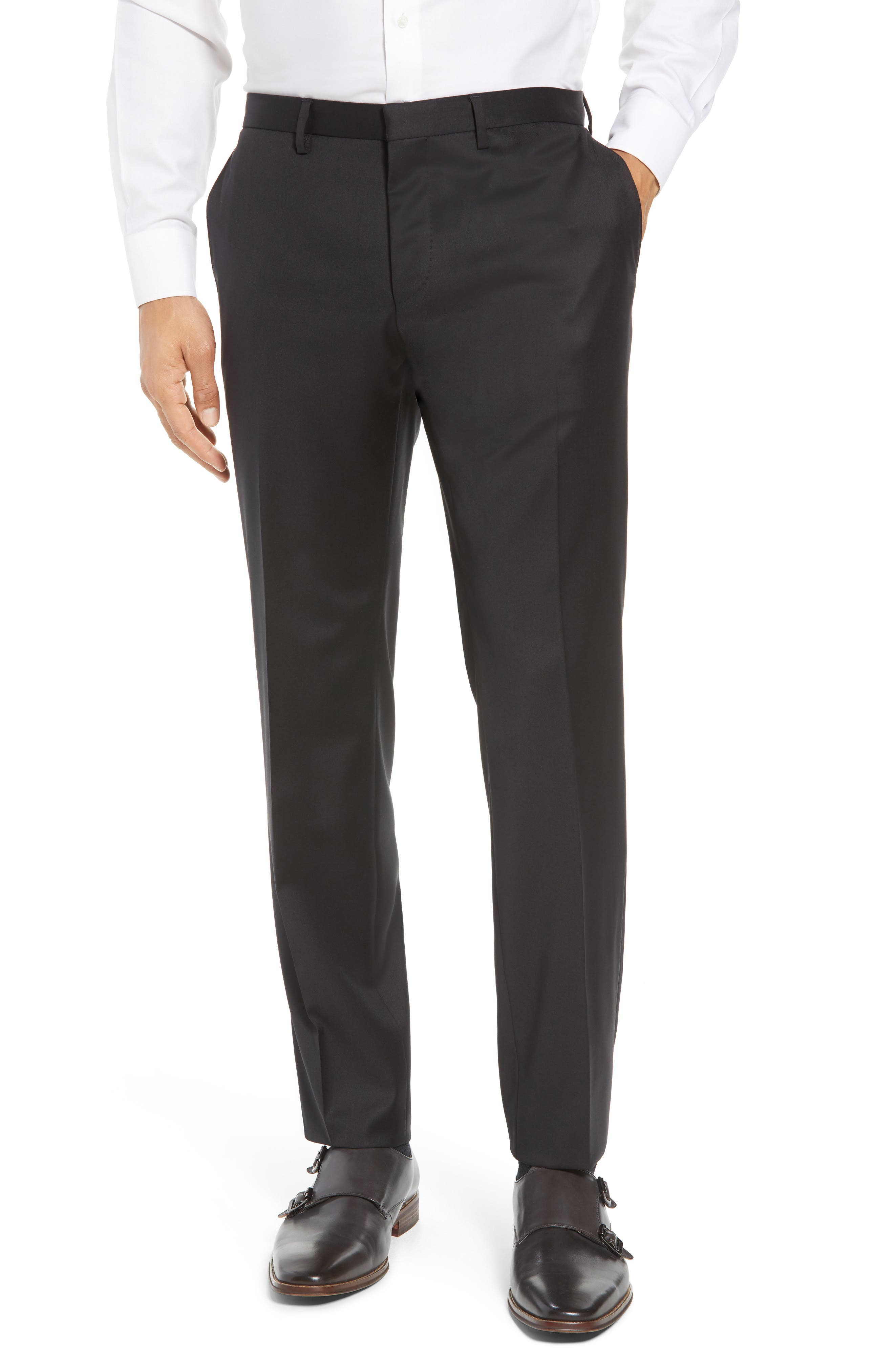 Ryan/Win Extra Trim Fit Solid Wool Suit,                             Alternate thumbnail 8, color,                             BLACK