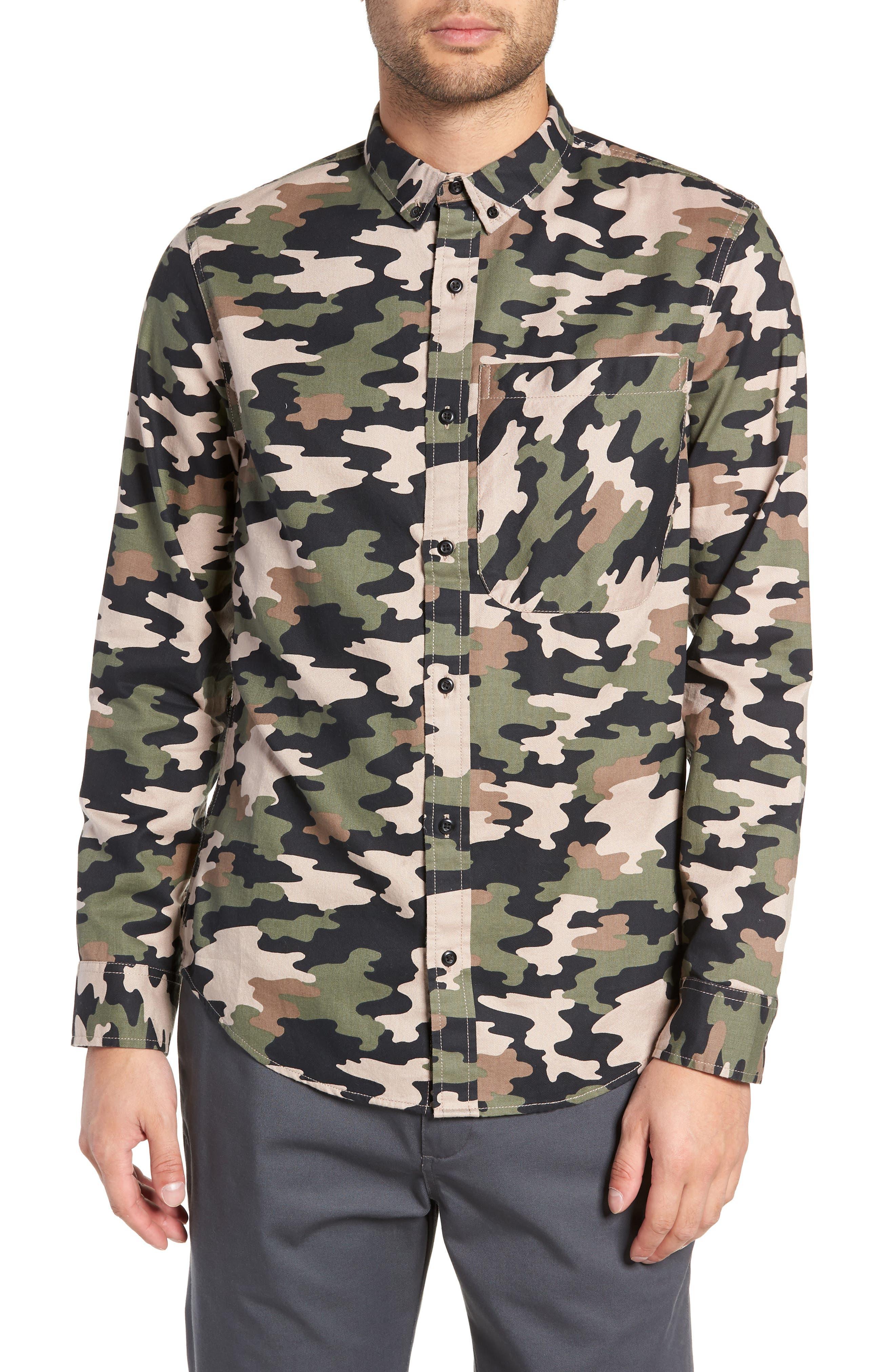 Camo Flannel Shirt,                             Main thumbnail 1, color,                             GREEN BLACK CAMO