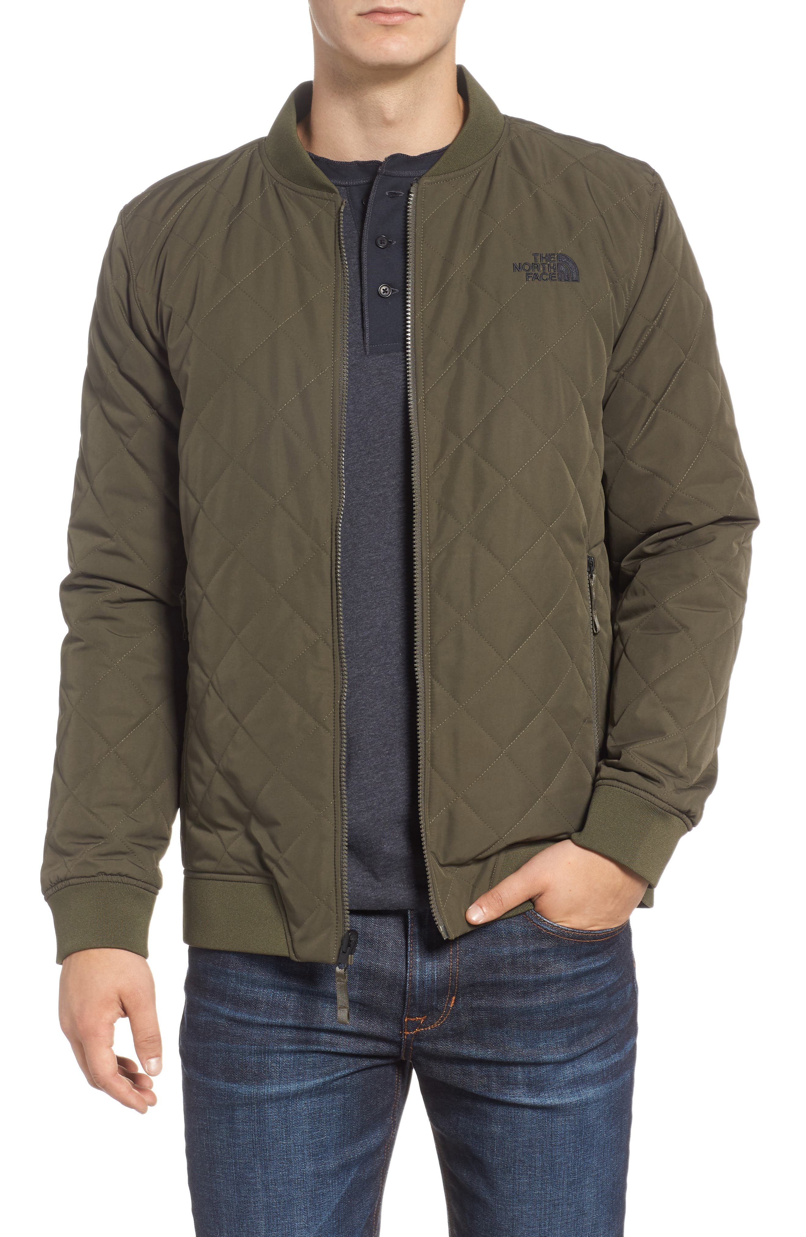 THE NORTH FACE,                             Jester Reversible Bomber Jacket,                             Main thumbnail 1, color,                             NEW TAUPE GREEN