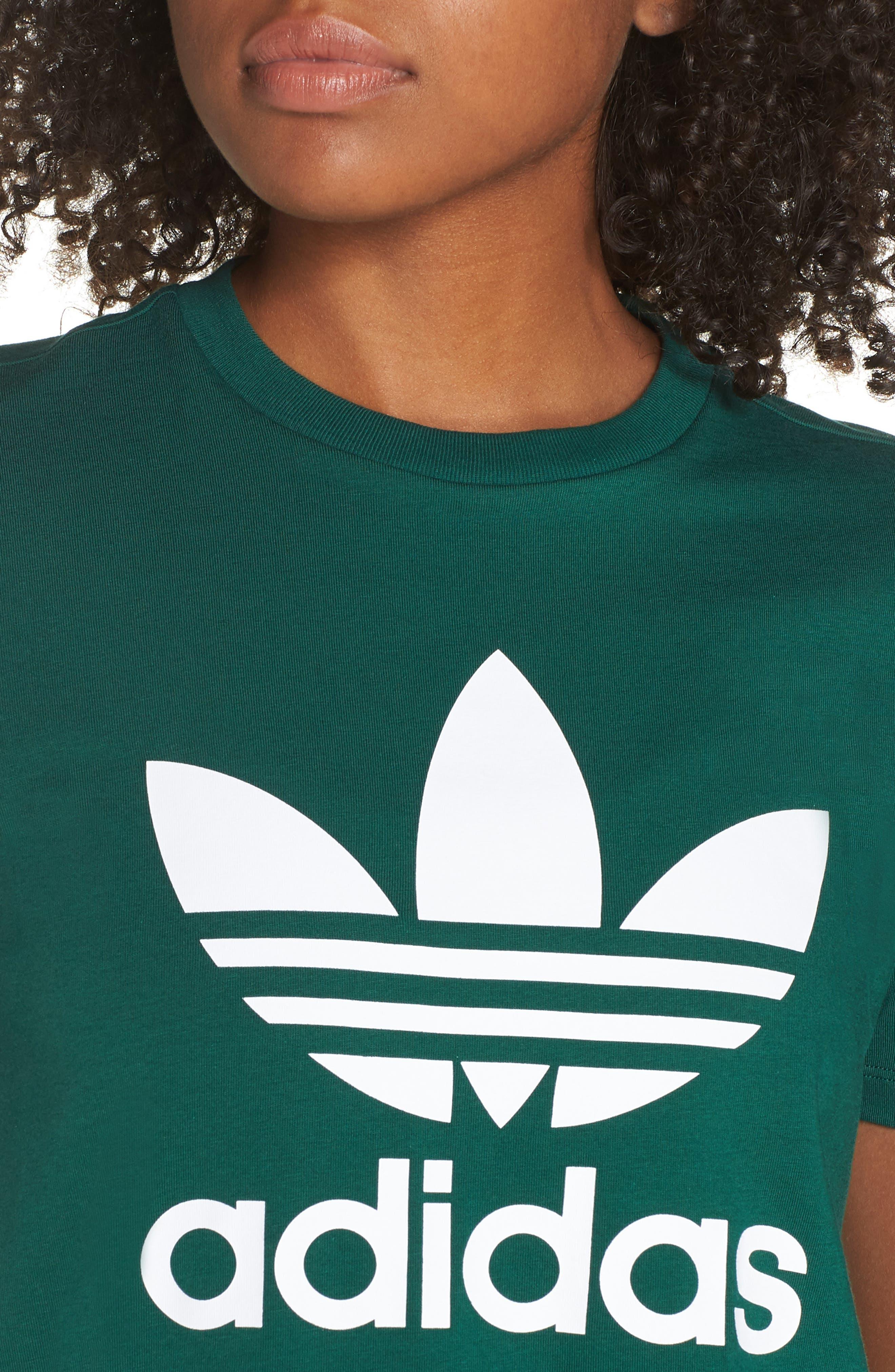 adidas Trefoil Tee,                             Alternate thumbnail 4, color,                             COLLEGIATE GREEN