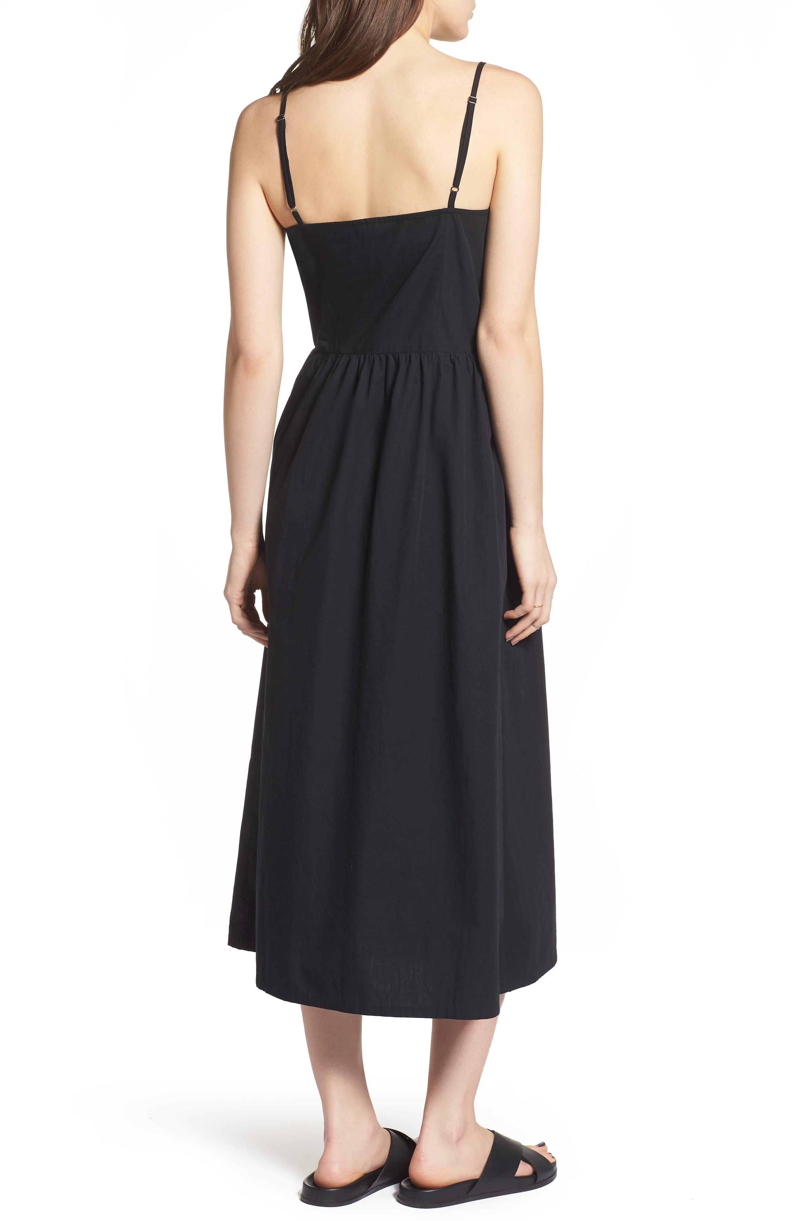 Button Front Midi Dress,                             Alternate thumbnail 2, color,                             001