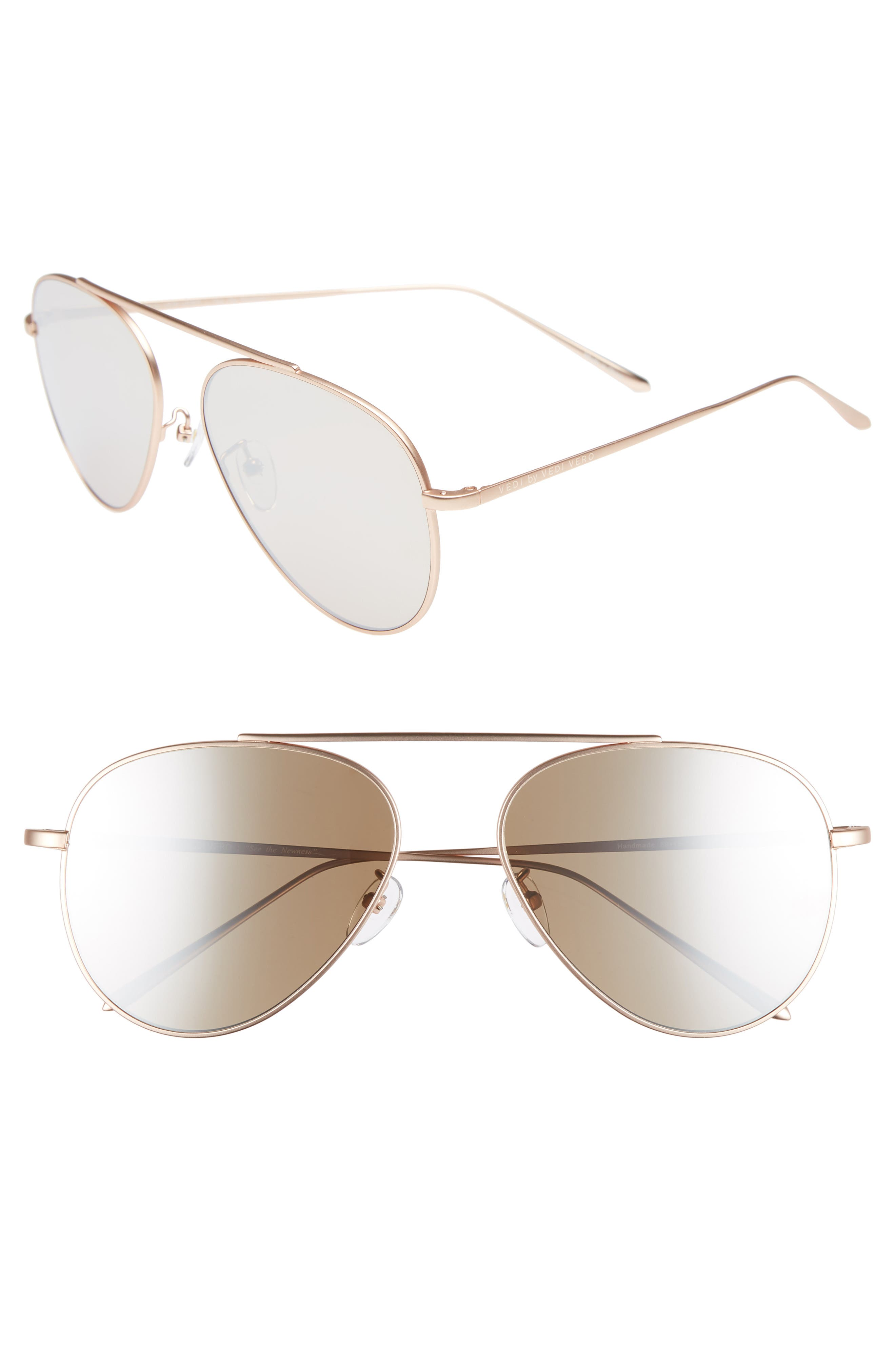 59mm Metal Aviator Sunglasses,                         Main,                         color, ROSE GOLD/GOLD MIRROR