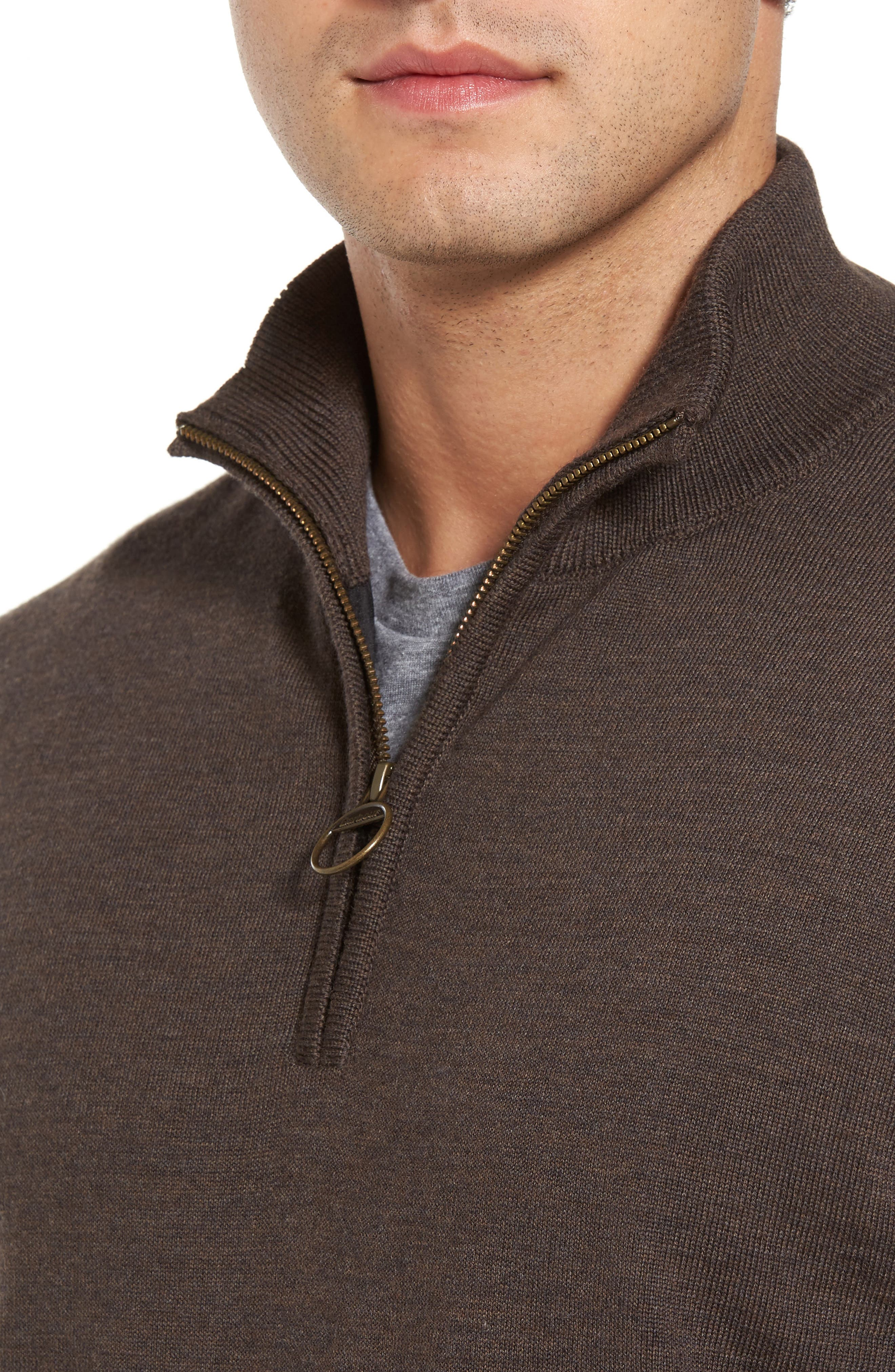 Gamlin Quarter Zip Wool Pullover,                             Alternate thumbnail 4, color,                             RUSTIC