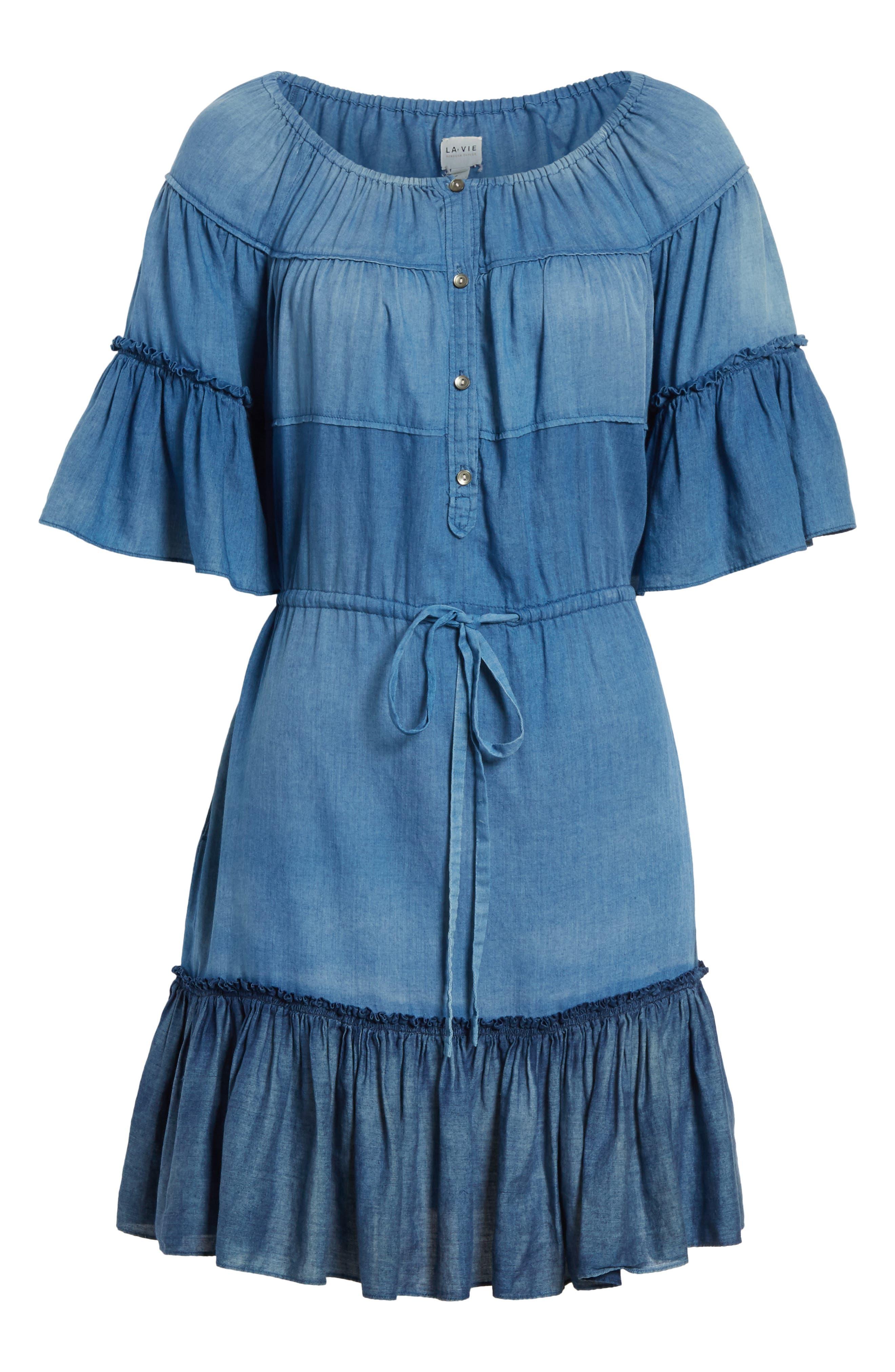 Ruffle Tissue Denim Dress,                             Alternate thumbnail 6, color,                             453