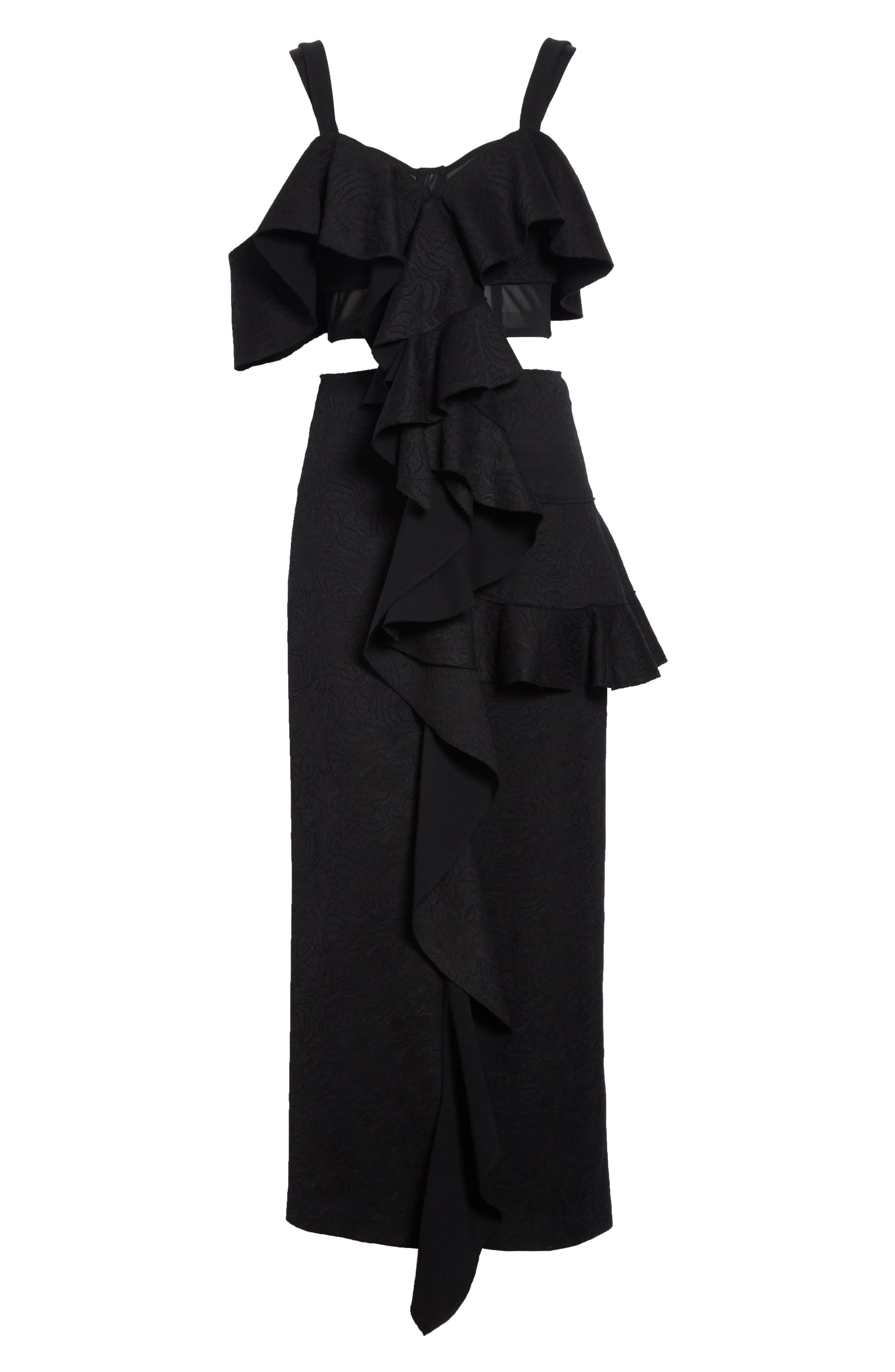 Ruffle Midi Dress,                             Alternate thumbnail 7, color,                             001