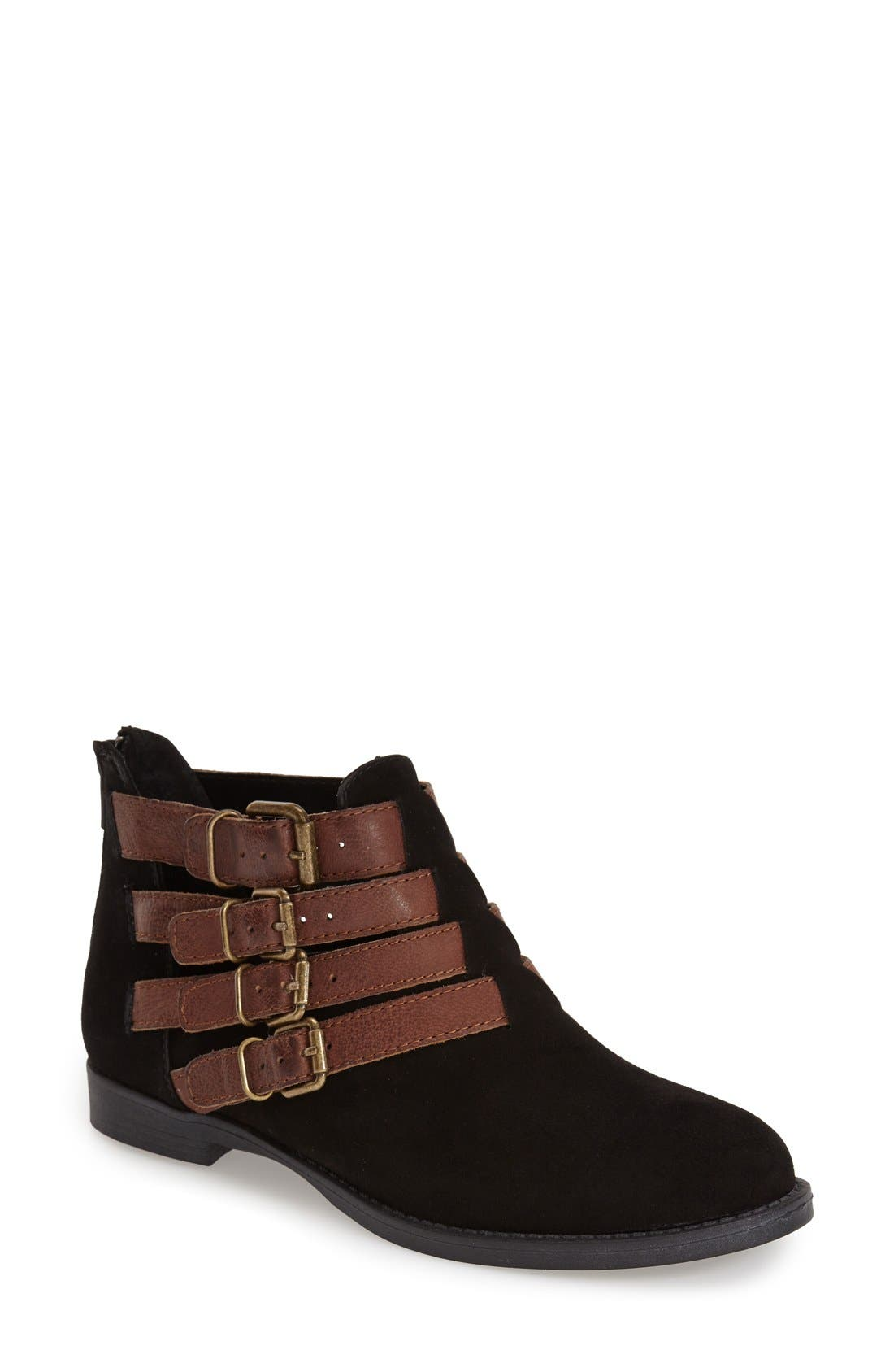 'Ronan' Buckle Leather Bootie,                         Main,                         color,