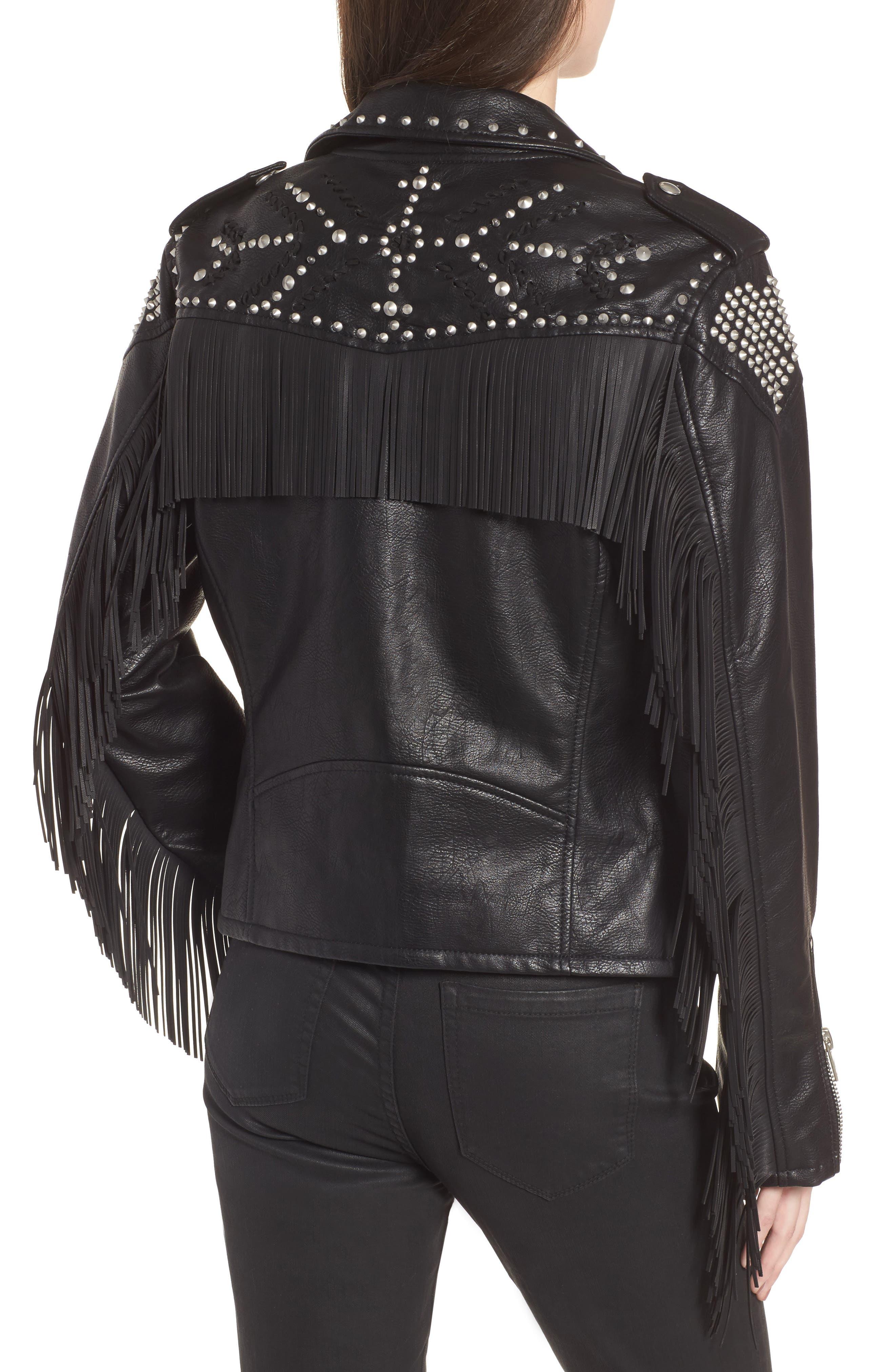Studded Fringe Faux Leather Moto Jacket,                             Alternate thumbnail 2, color,                             001