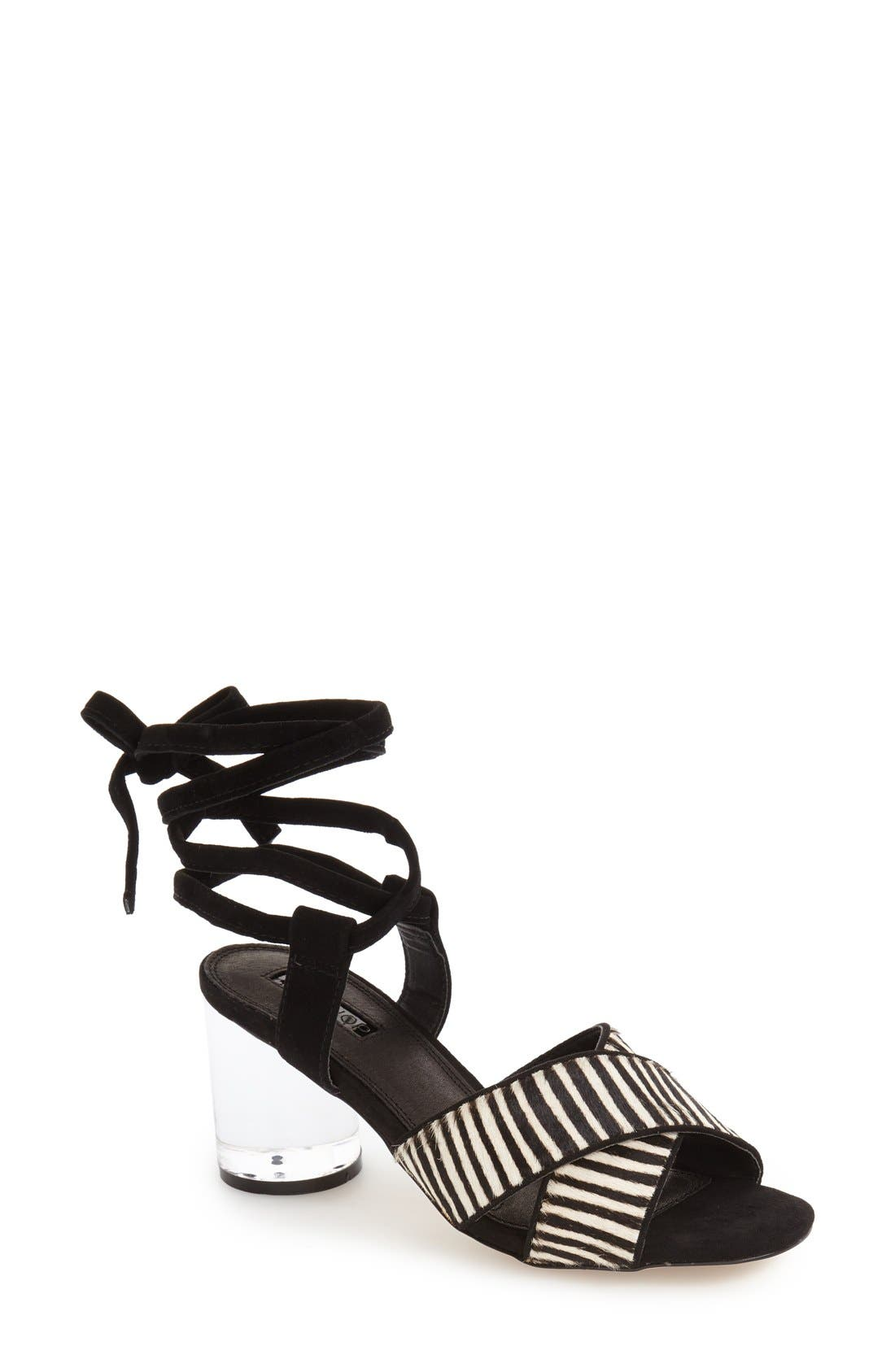 TOPSHOP,                             'Raffle' Ankle Strap Sandal,                             Main thumbnail 1, color,                             001