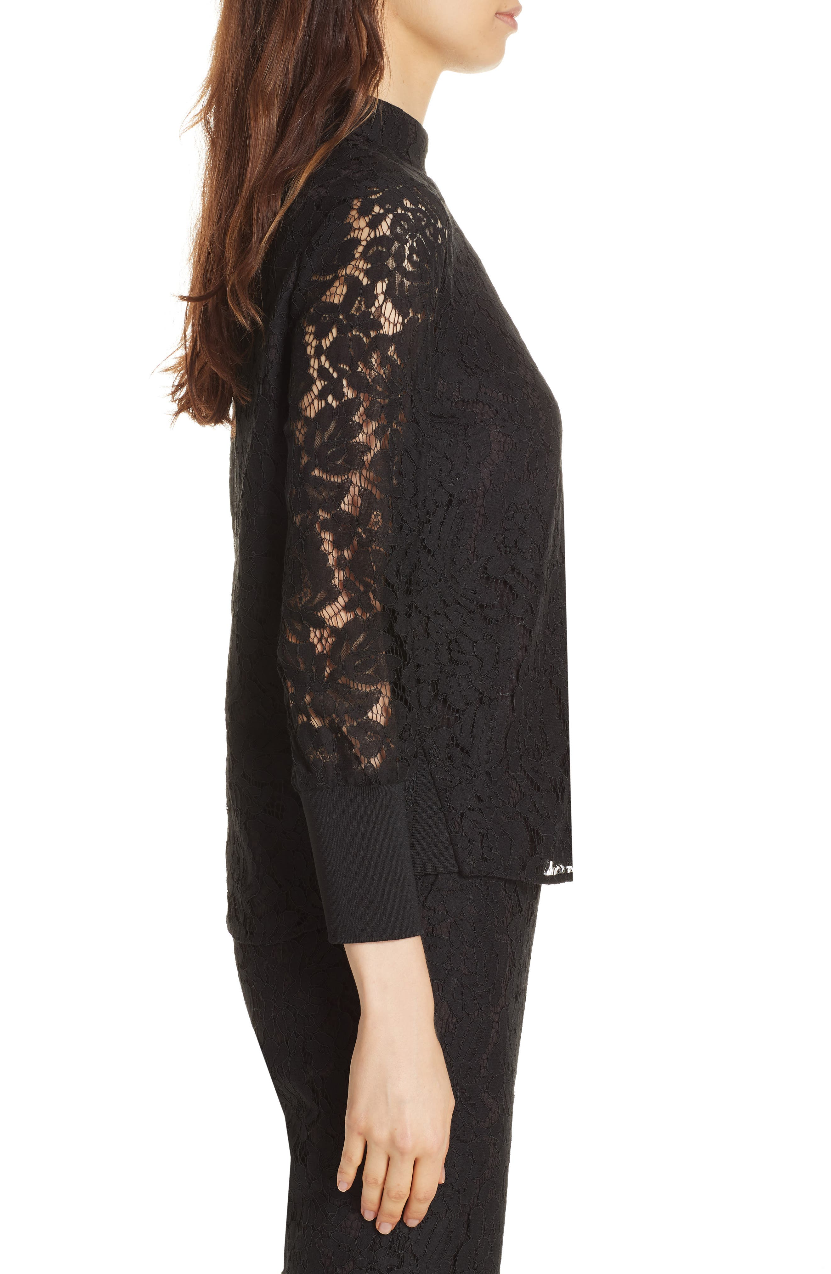 Dilly Lace High Neck Blouse,                             Alternate thumbnail 3, color,                             BLACK