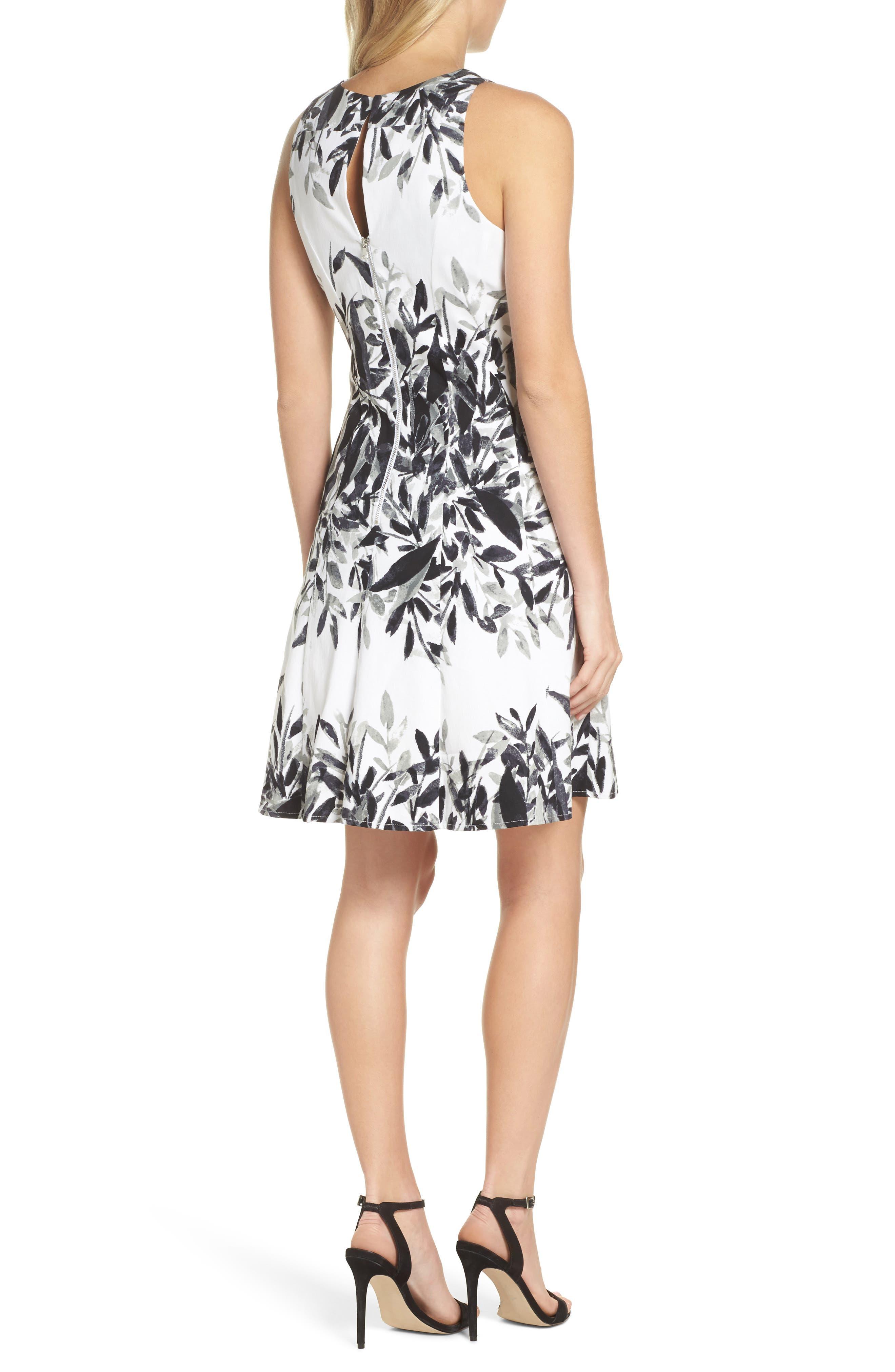 Sateen Fit & Flare Dress,                             Alternate thumbnail 2, color,