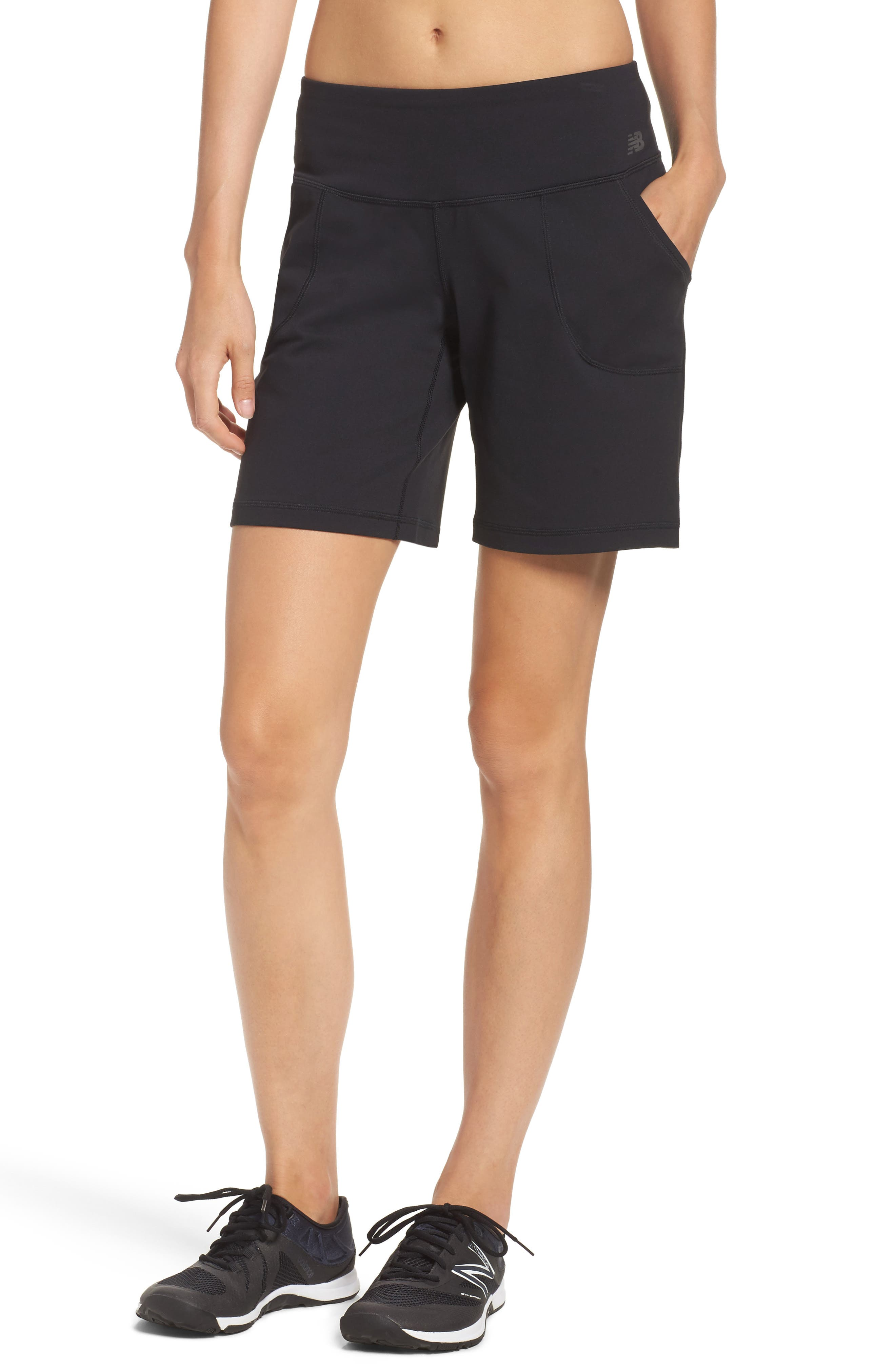 NEW BALANCE Premium Performance Sport Bermuda Shorts, Main, color, 001