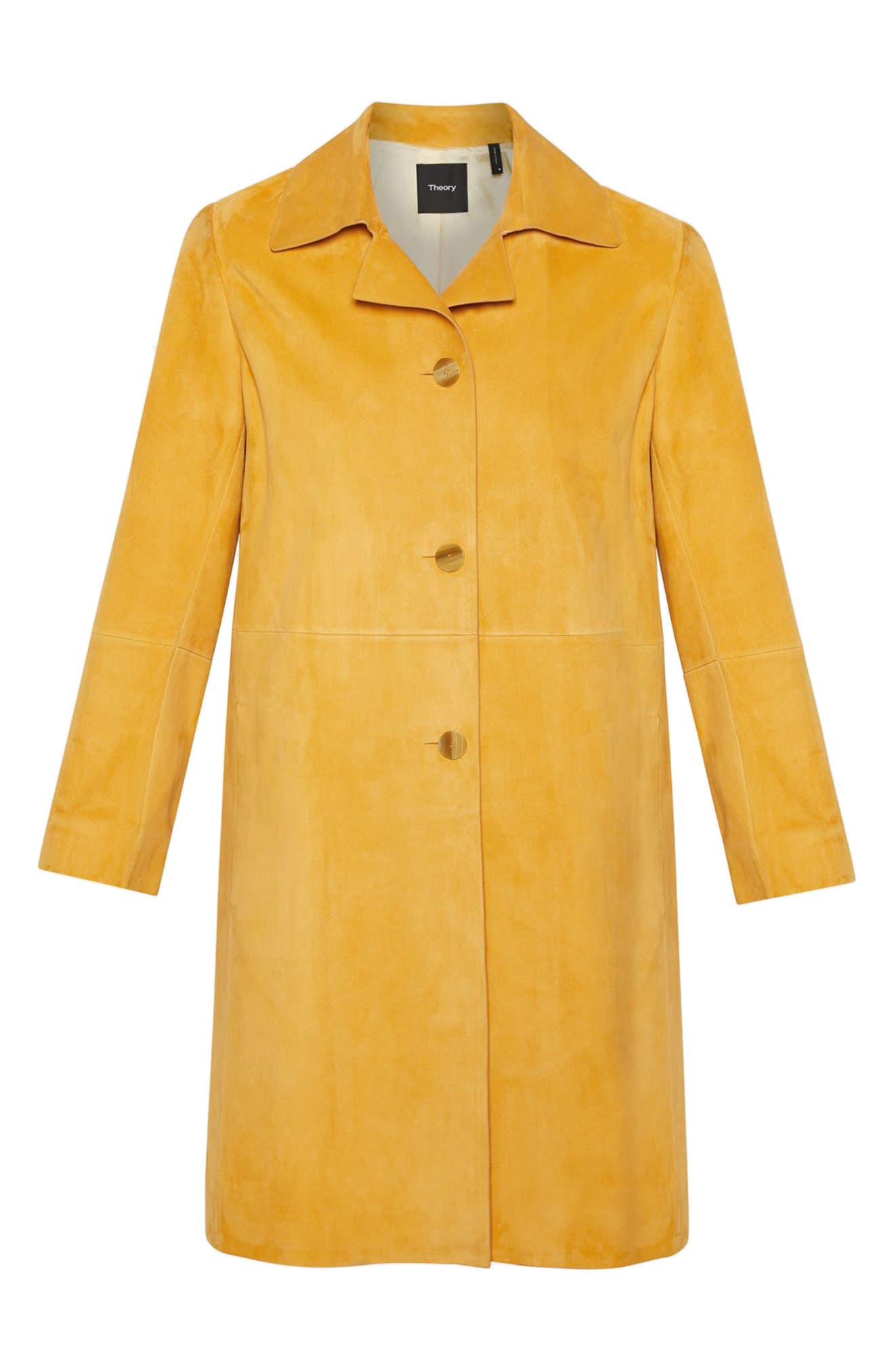 THEORY,                             Piazza Leather Coat,                             Alternate thumbnail 4, color,                             ZEST