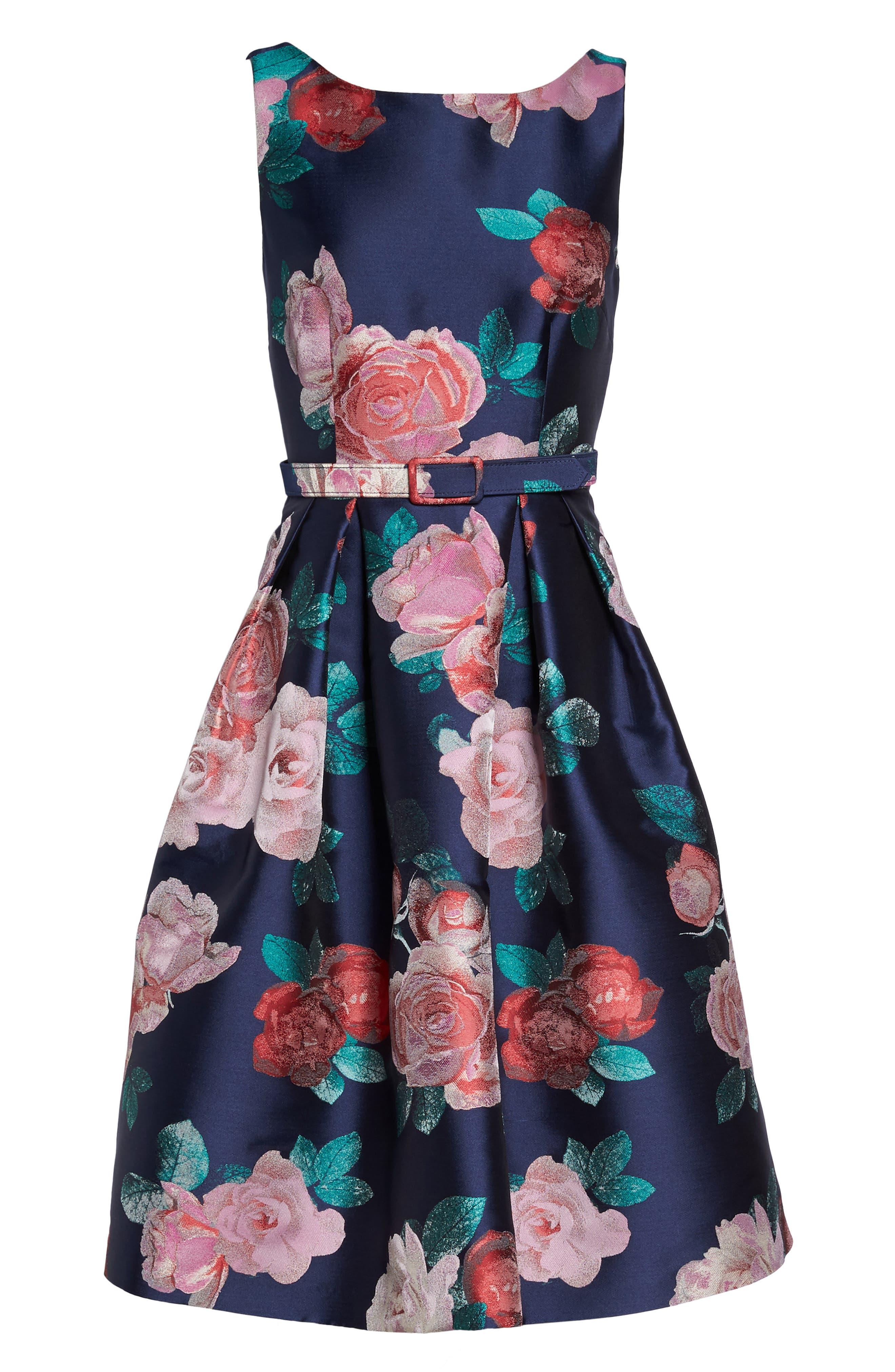 Floral Fit & Flare Dress,                             Alternate thumbnail 7, color,                             NAVY