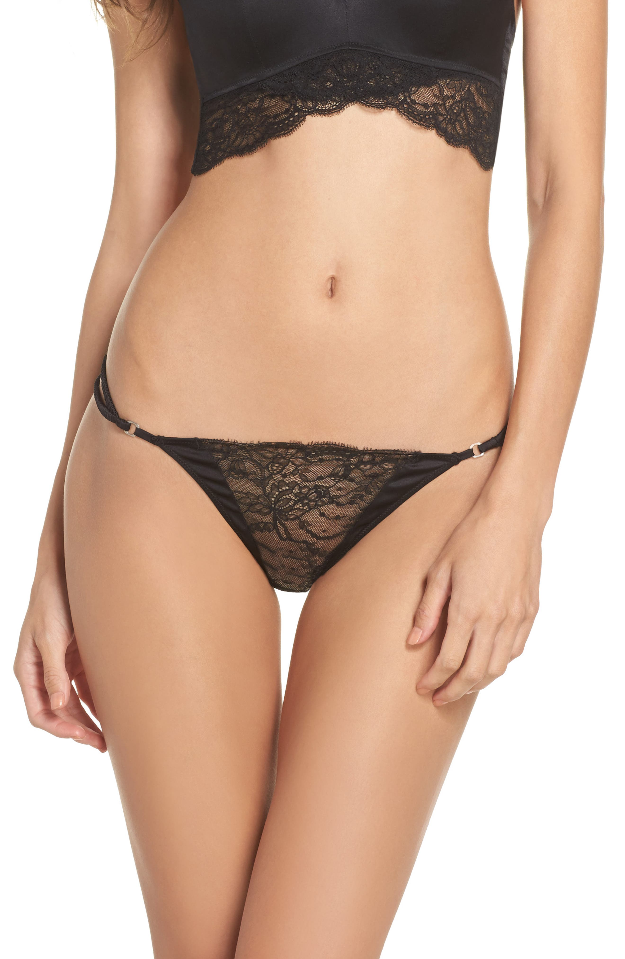 Lilly Silk & Lace Thong,                         Main,                         color, 001