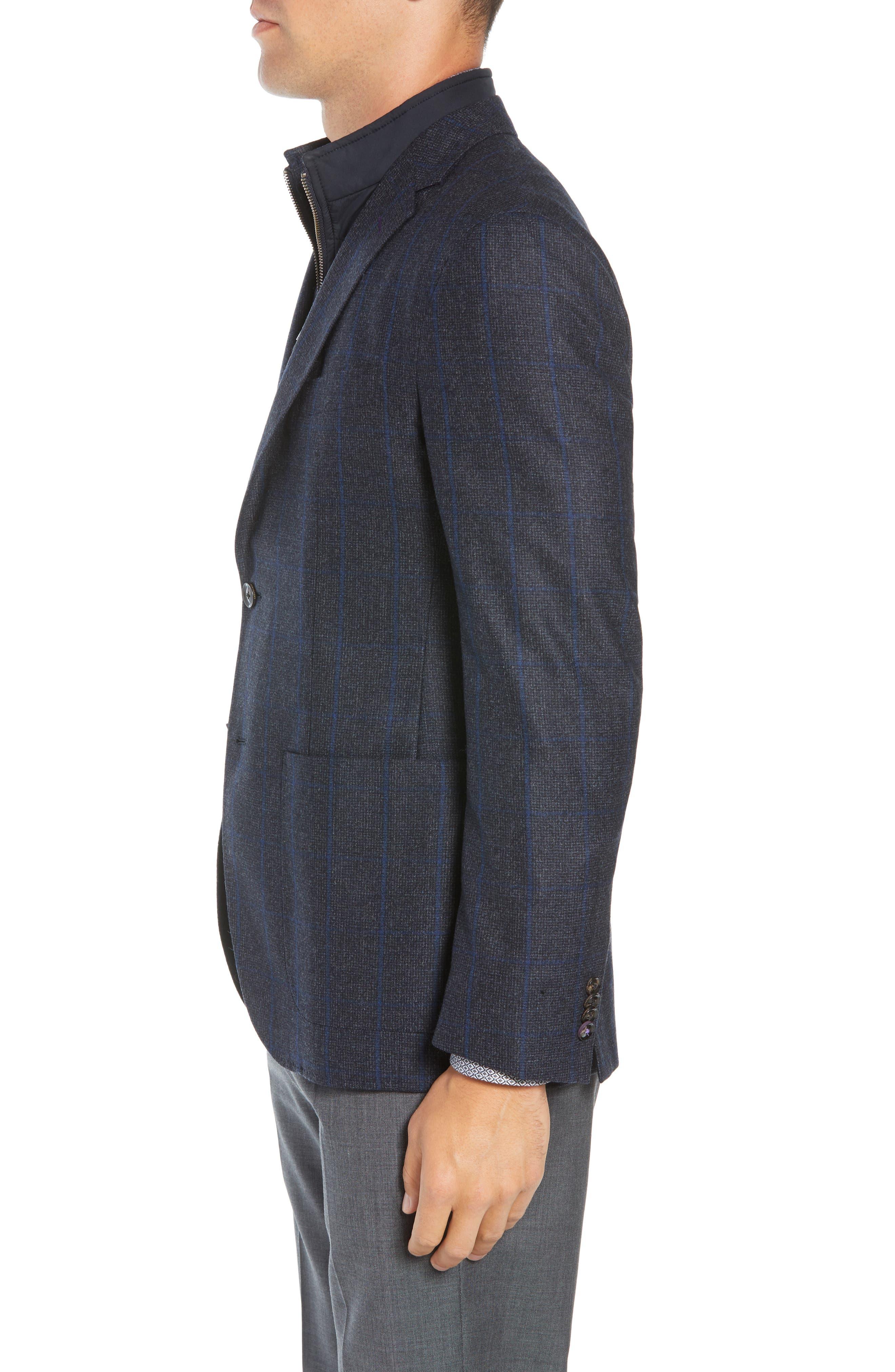 Tucker Trim Fit Windowpane Wool Sport Coat,                             Alternate thumbnail 3, color,                             BLUE