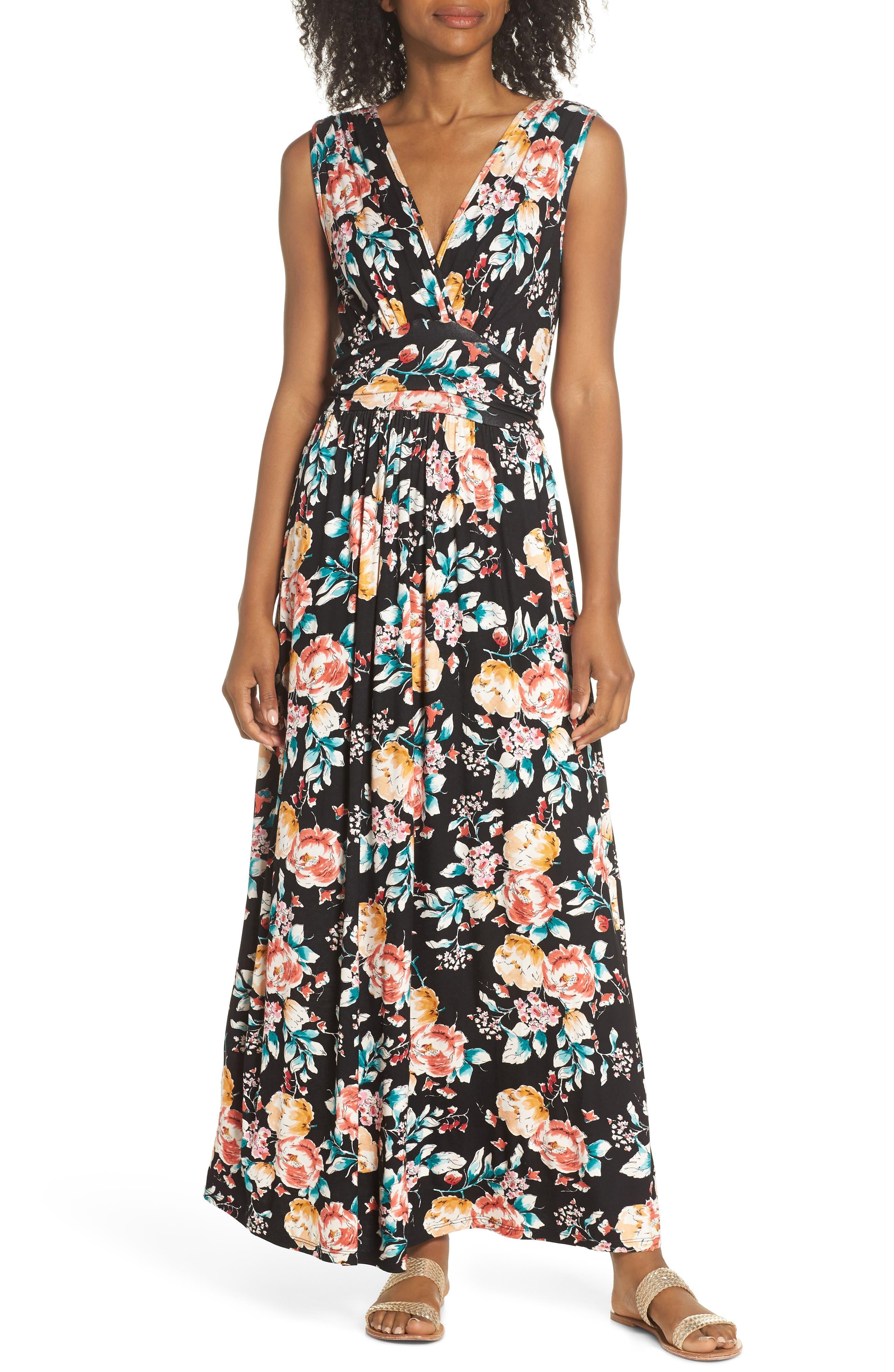 Peony Deep V Maxi Dress,                         Main,                         color, PEONY